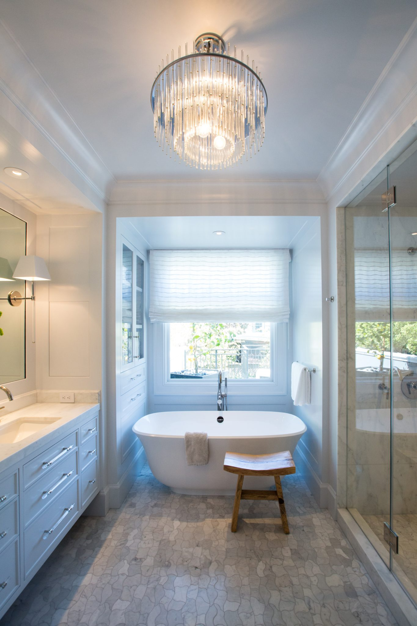 Master Bathroom with WaterJet Mosaic Marble Floor and Urban Electric Sconces by Marsh & Clark Design