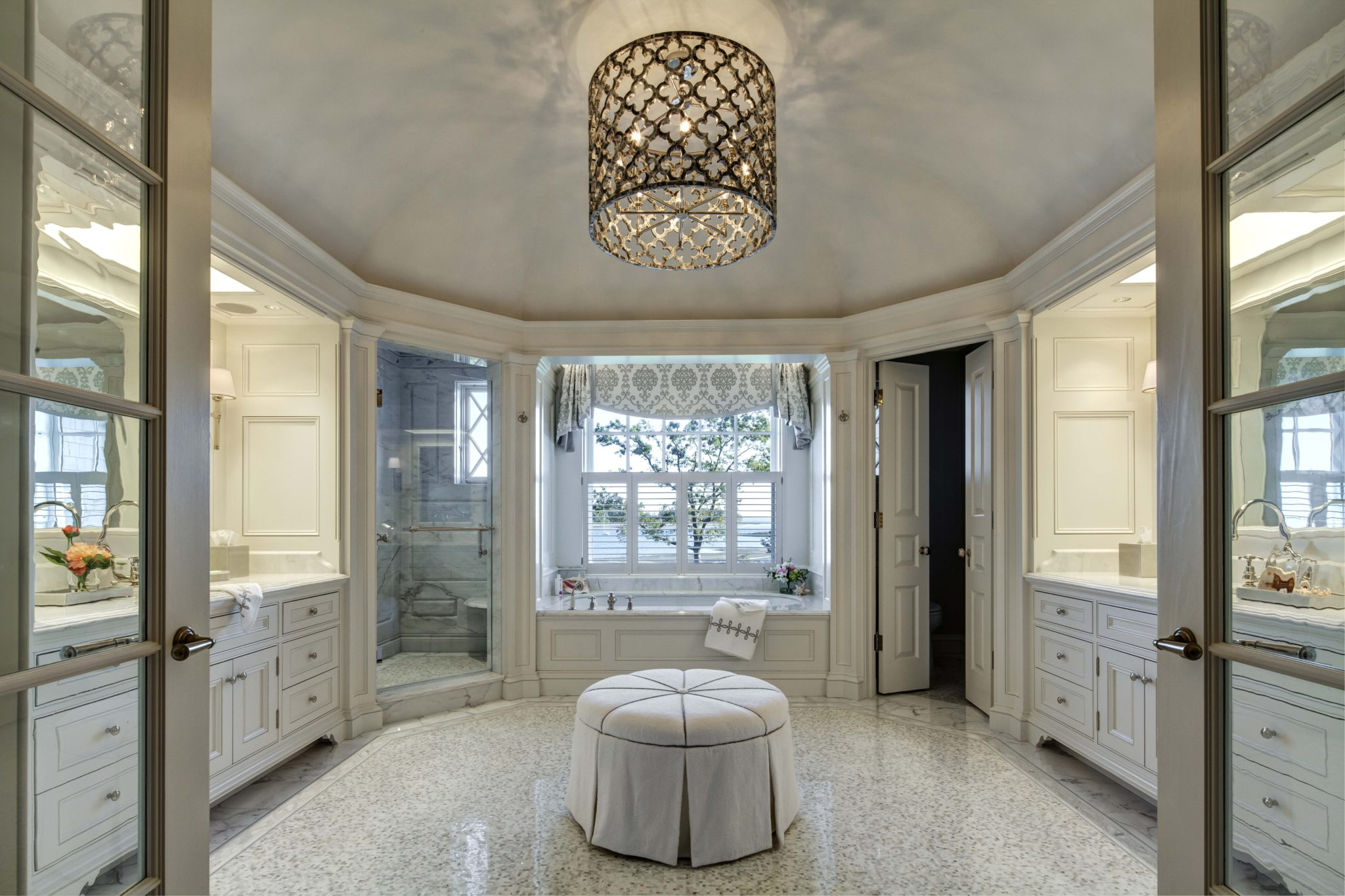 New England shingle-style master bath by Charles Hilton Architects