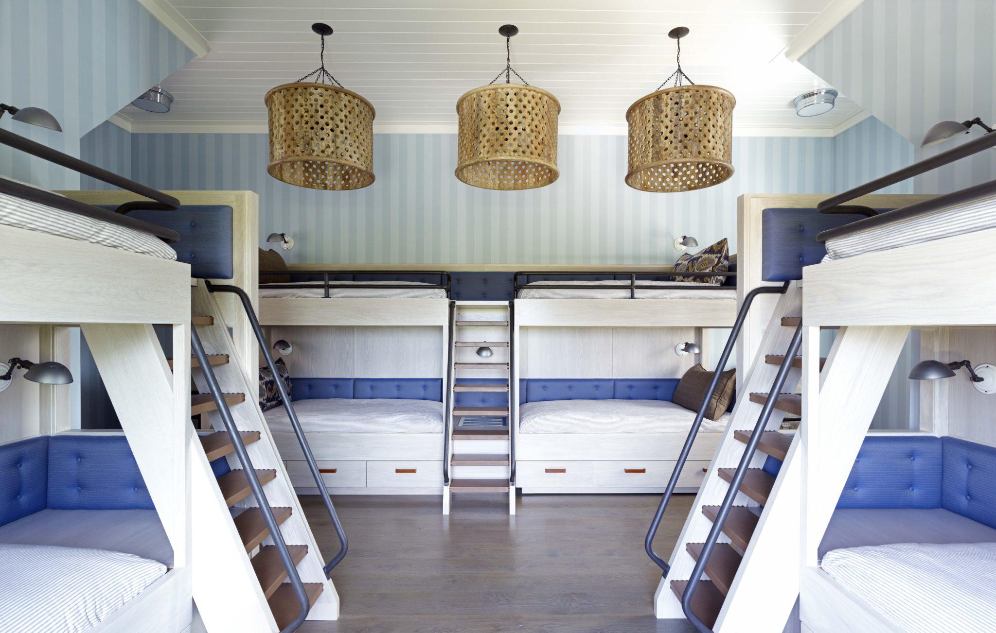 Bridgehampton Residence, Kid's Bunk Room w/ custom designed bunks & storage by Stephens Design Group