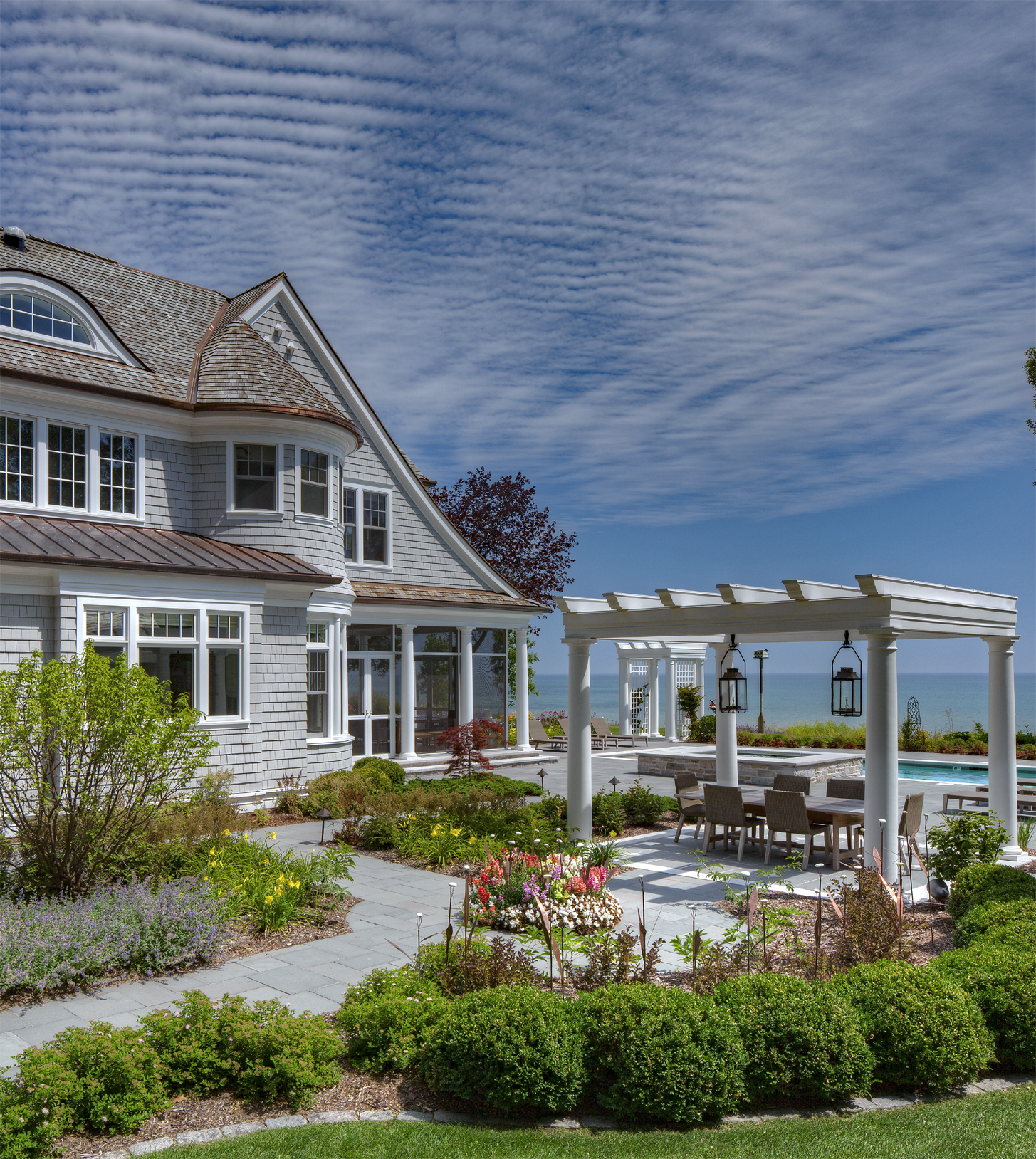 Beach House, Shingle Style, Exterior with Pool and Pergola by Deep River Partners, Ltd.