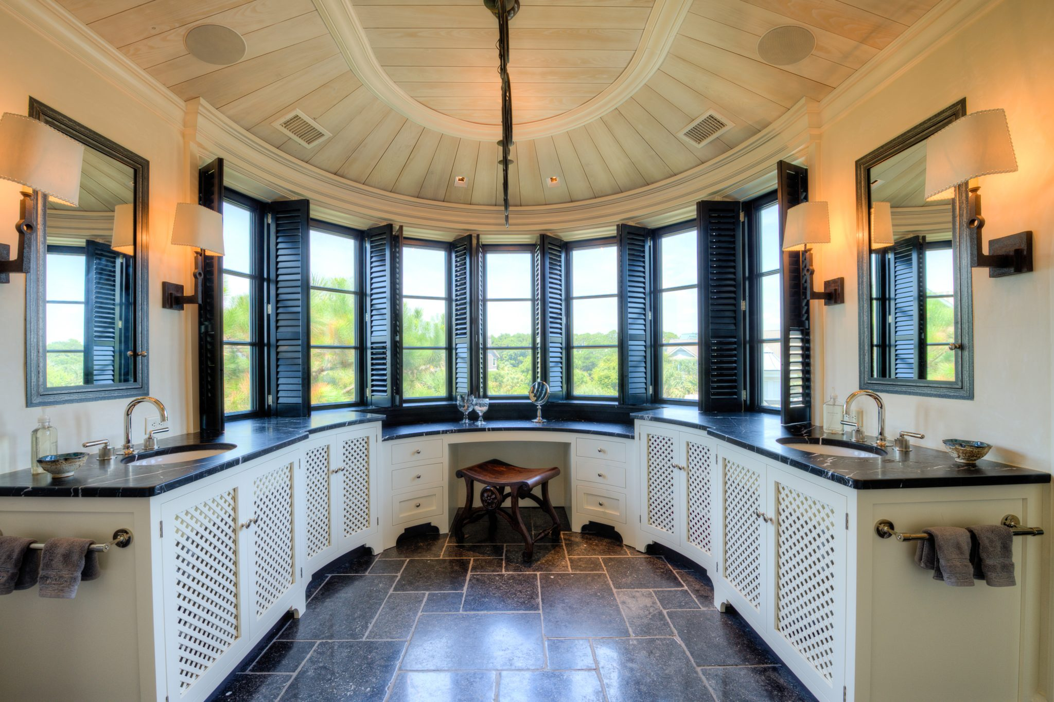 Master Bathroom with Curved Double Vanity, Black Sash Windows and Black Shutters by Island Architects