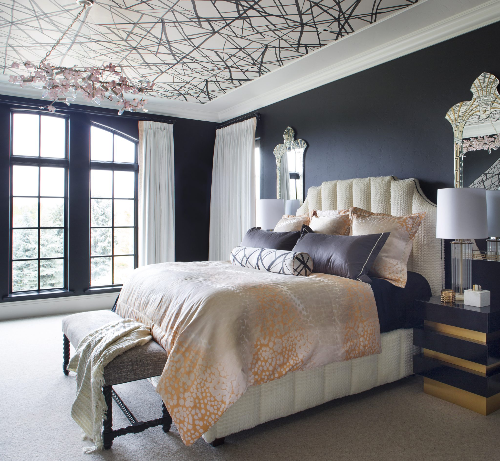 Contemporary aster bedroom with ceiling wall-covering and sage twig chandelier. by Andrea Schumacher Interiors
