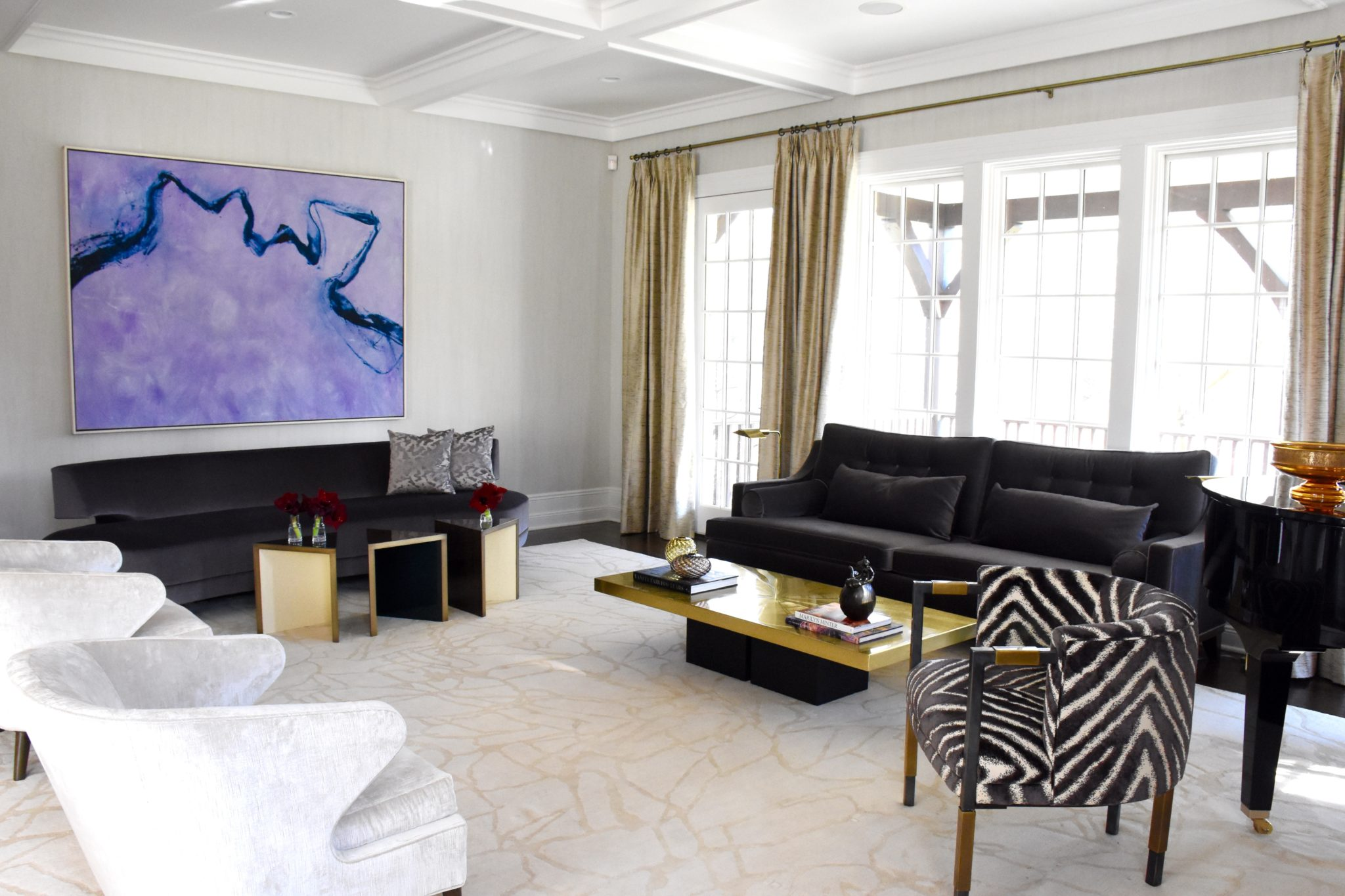 Zebra fabric on a Kelly Wearstler chair by Monica Fried Design