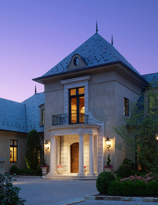 Entry portico, motor court at French Inspired Home in Maryland by Barnes Vanze Architects, Inc.