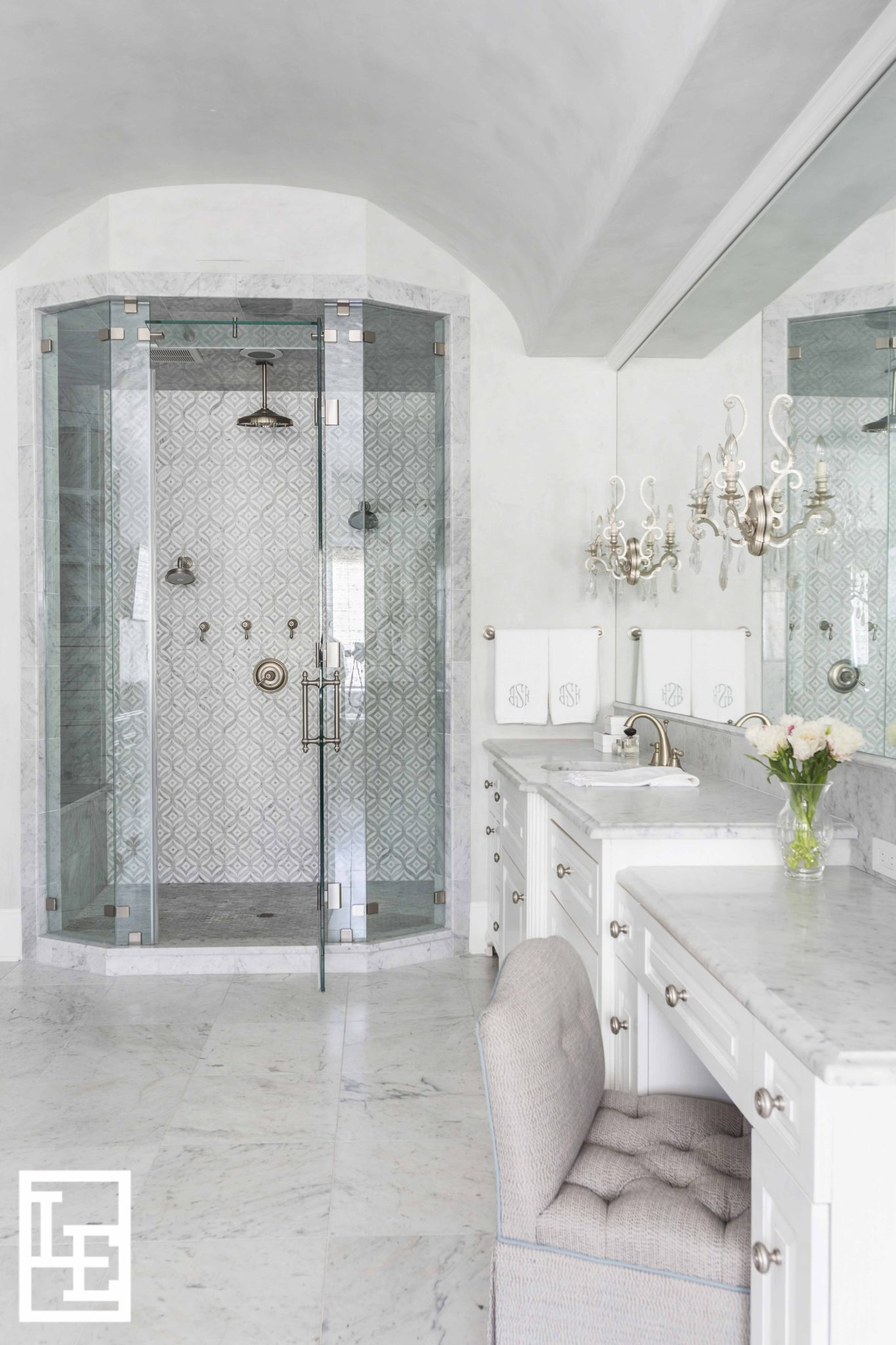 White Marble Master Bath by Lucas Eilers Design Associates, LLP