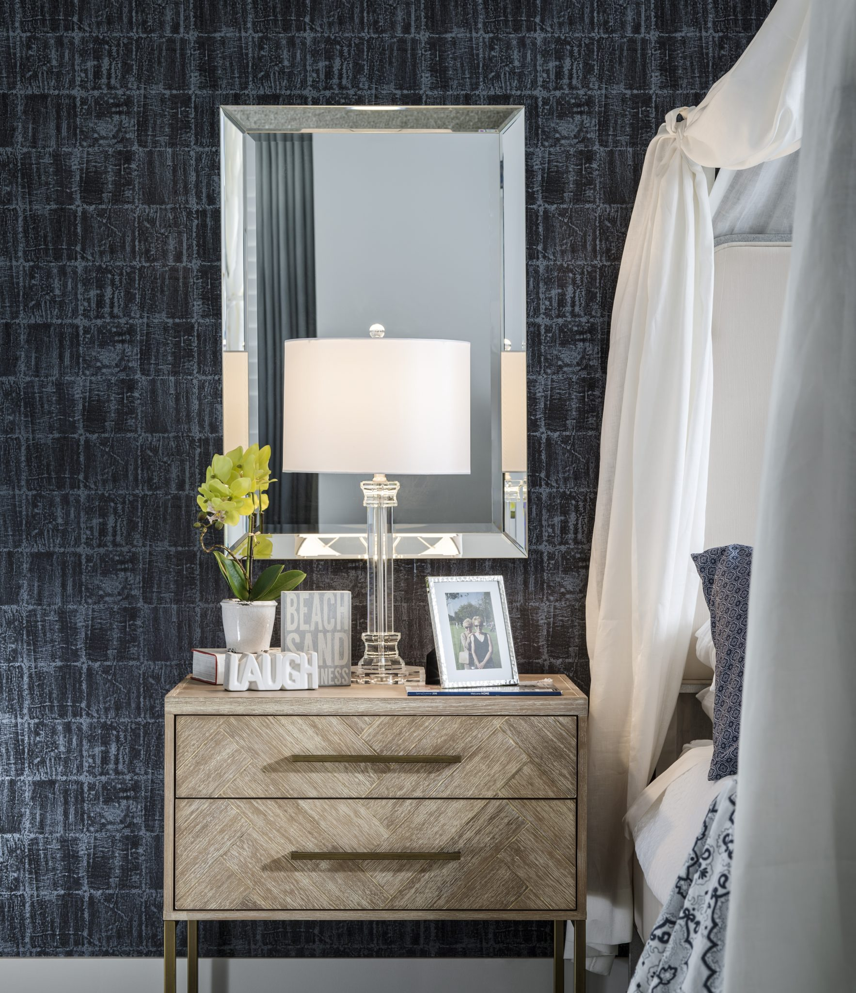 Wallpaper Accent Wall and Reclaimed Wood Night Stand by SUZA DESIGN