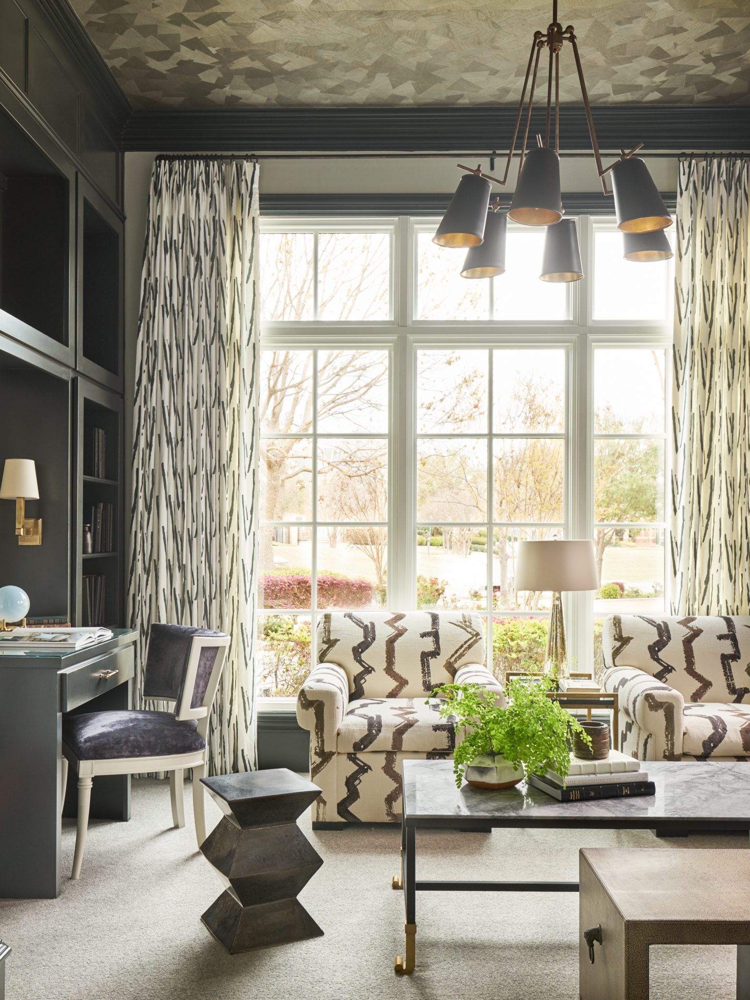 Study with Wallpapered Ceiling by Denise McGaha Interiors