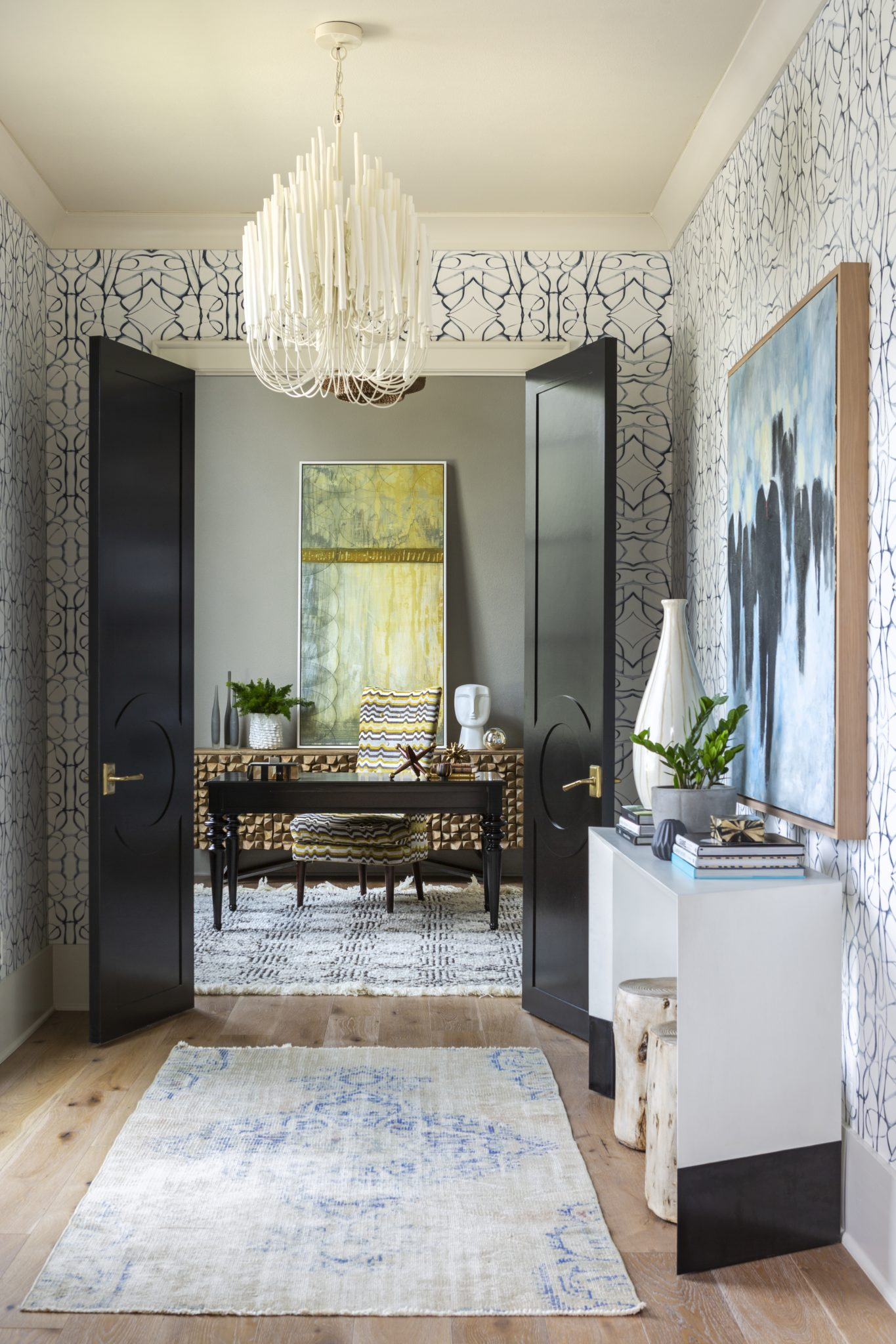 New Traditional Residence library pass through featuring Lindsay Cowles wallpaper, custom doors and original art. by Casey Sarkin Interior Design, Luna Inc.