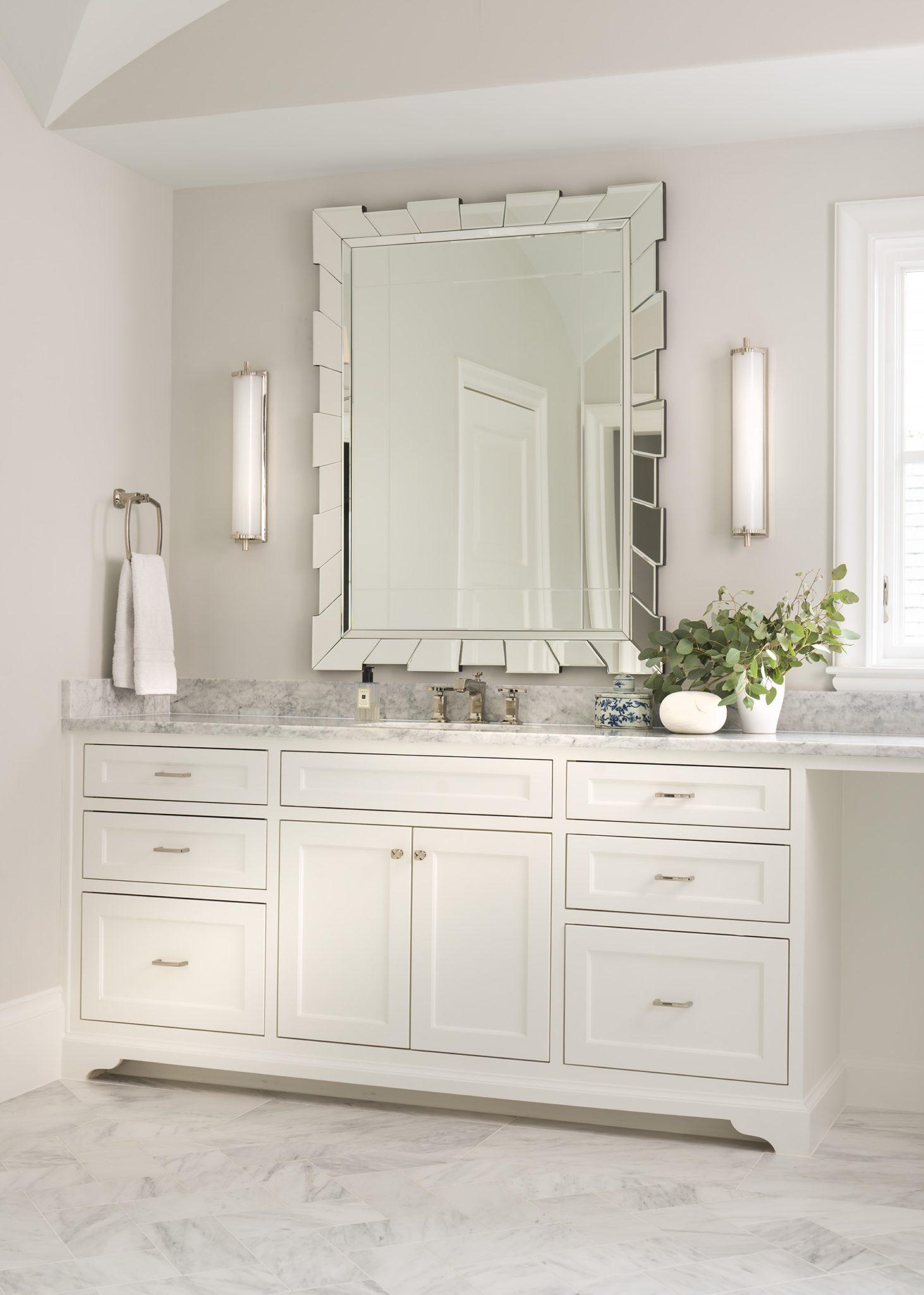 Crisp, White Master Bath by Denise McGaha Interiors