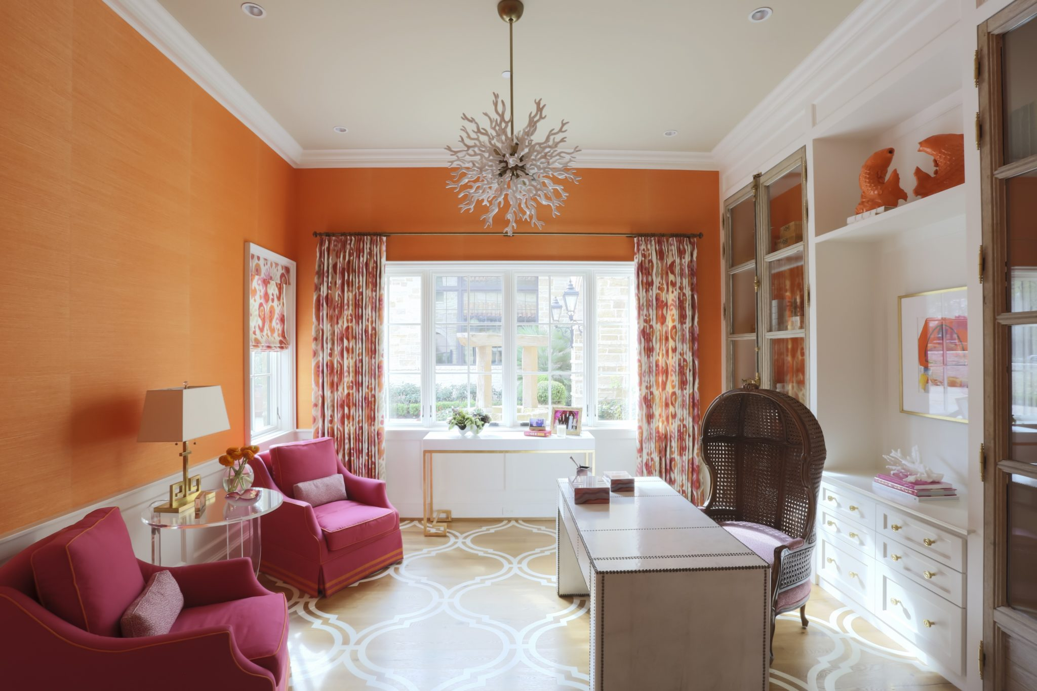 Colorful home office with bright grasscloth, painted floor and modern accessories by Triangle Interiors