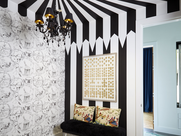 Dressing Room With Hand Painted Striped Ceiling and Walls by Heidi Holzer Design & Decorative Work