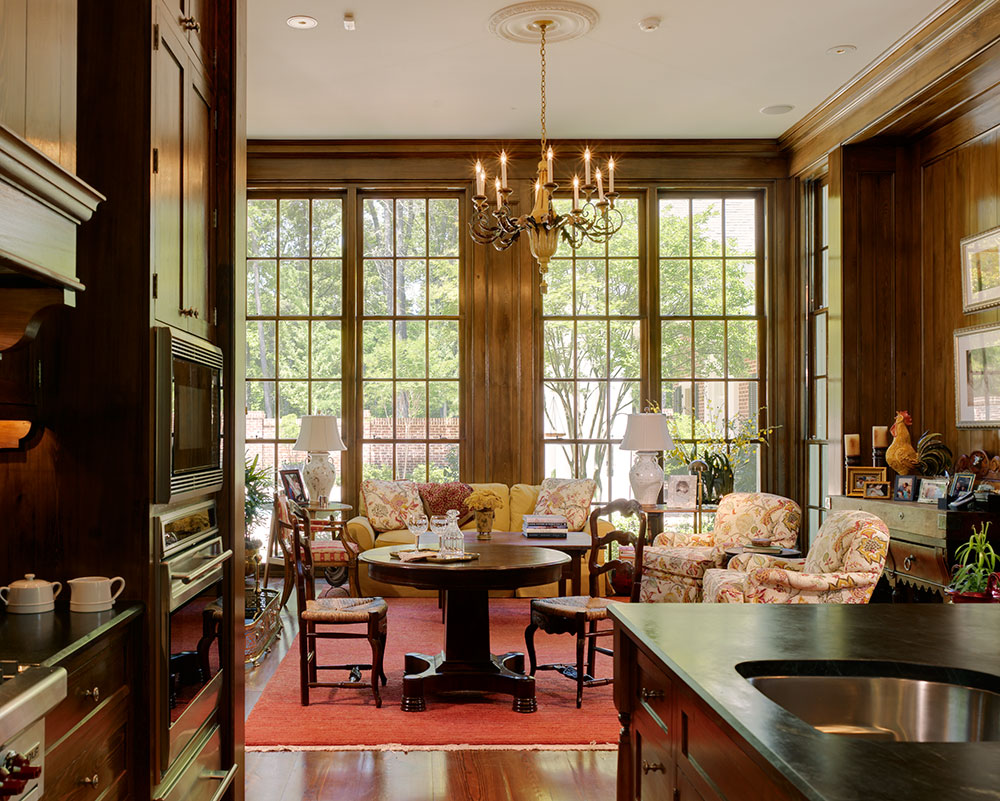 Breakfast room featuring architecture by Ken Tate Architect