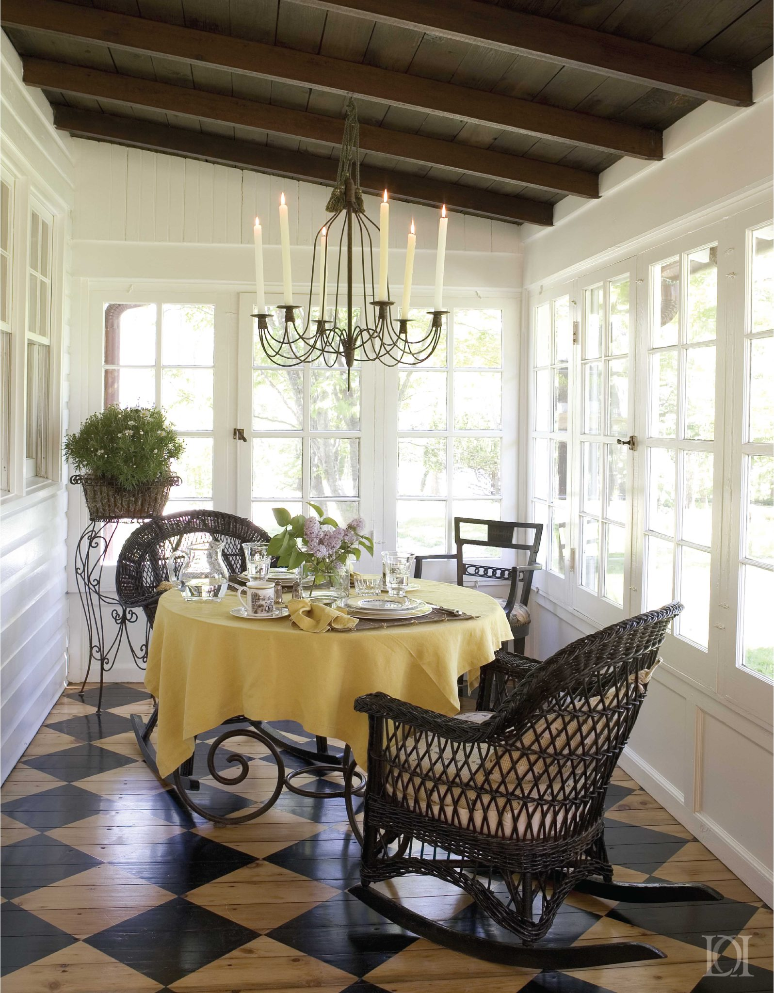 The Cottage White Porch, Beam Ceiling, Painted Pine Floorboards, Wicker Rockers by Deborah Leamann Interior Design