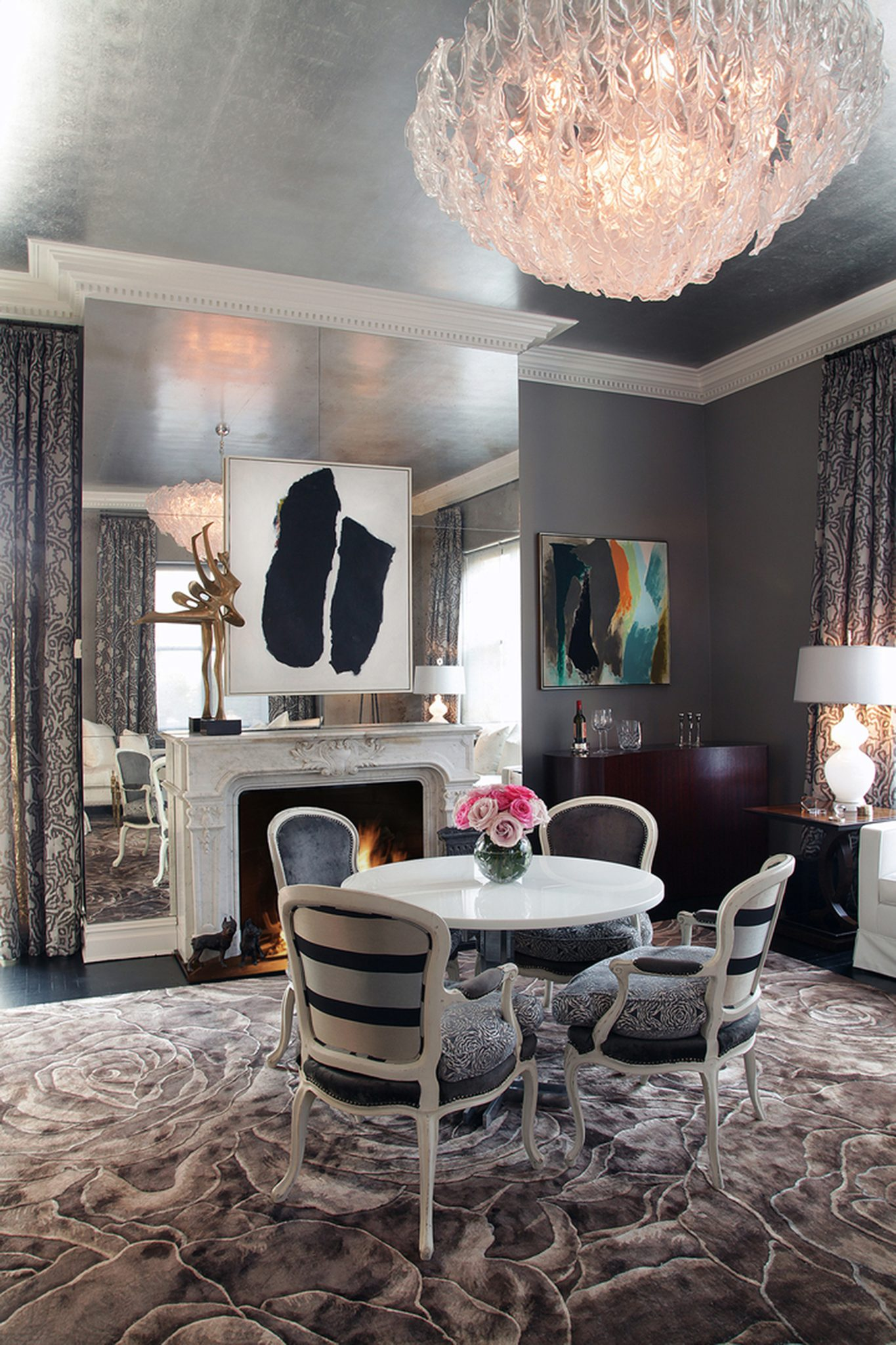 Upper East Side sitting room with textured ceiling, floral rug by Greg McKenzie Designs