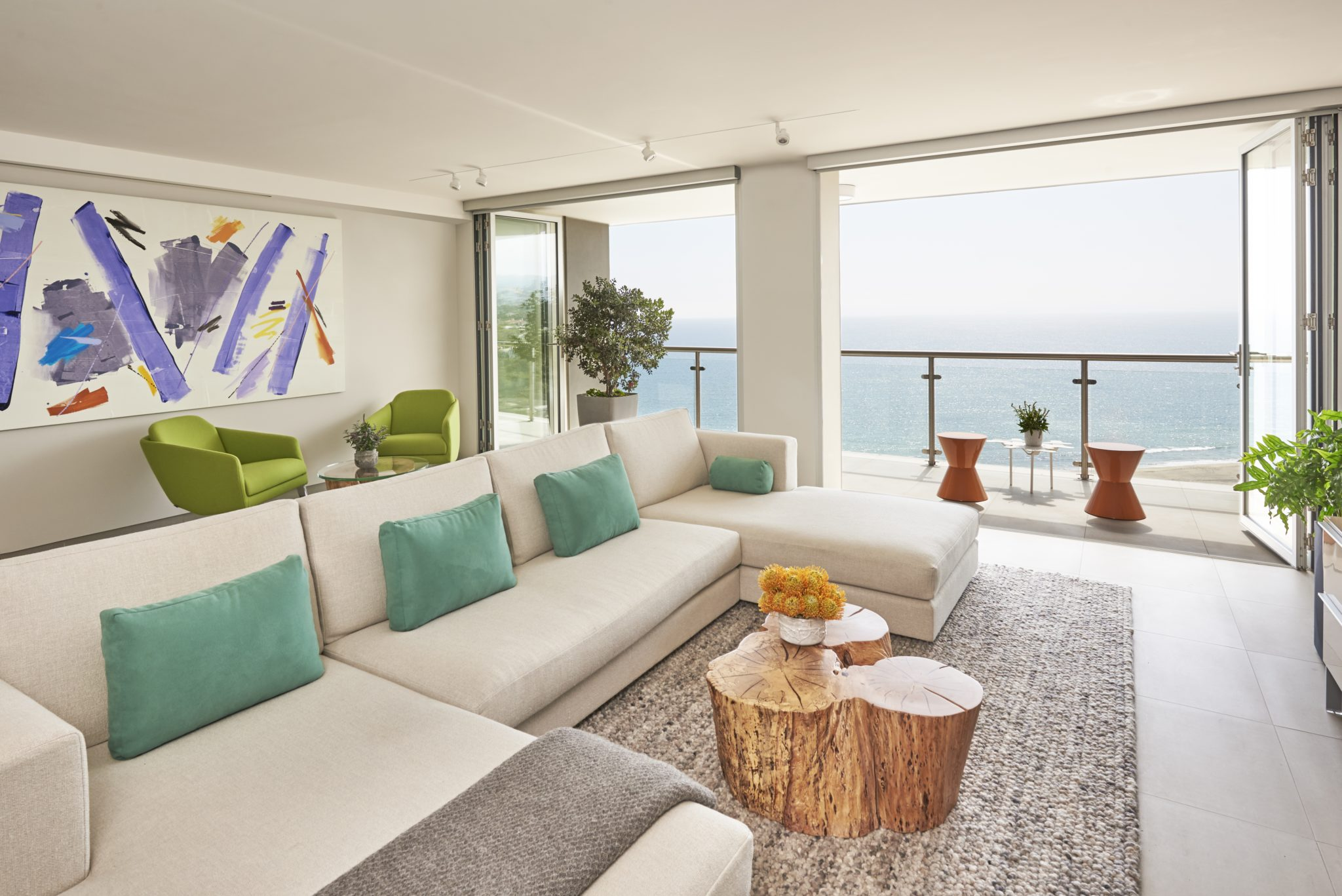 Fresh and fun colors come to life in an open air media room. By Sarah Barnard Design