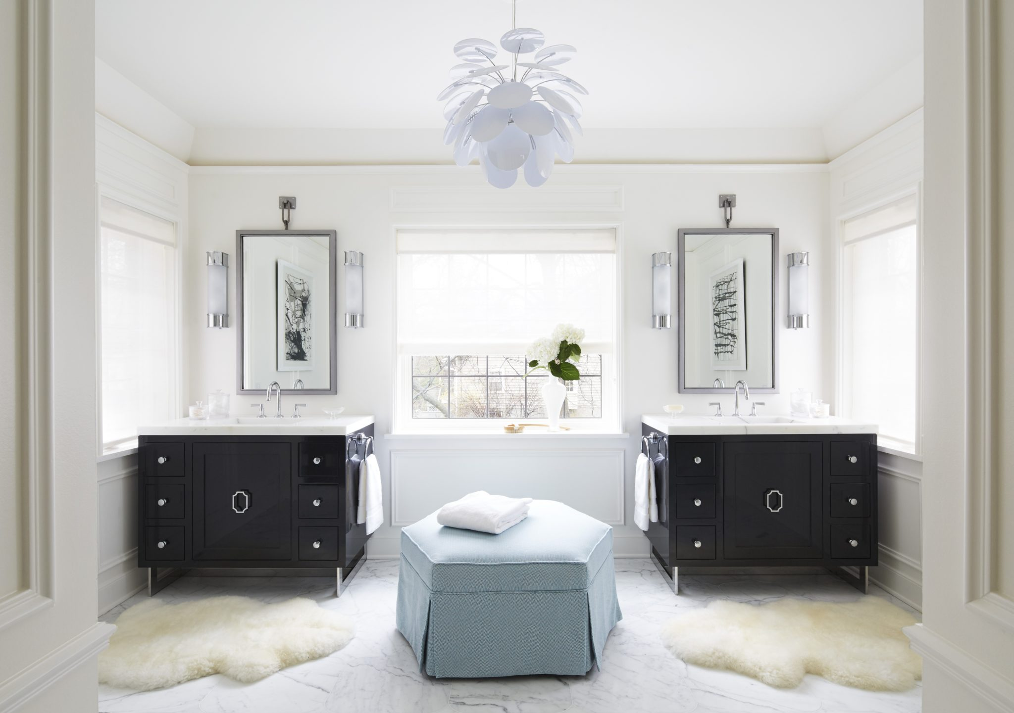 Master Bathroom with custom lacquer vanities by Amy Kartheiser Design