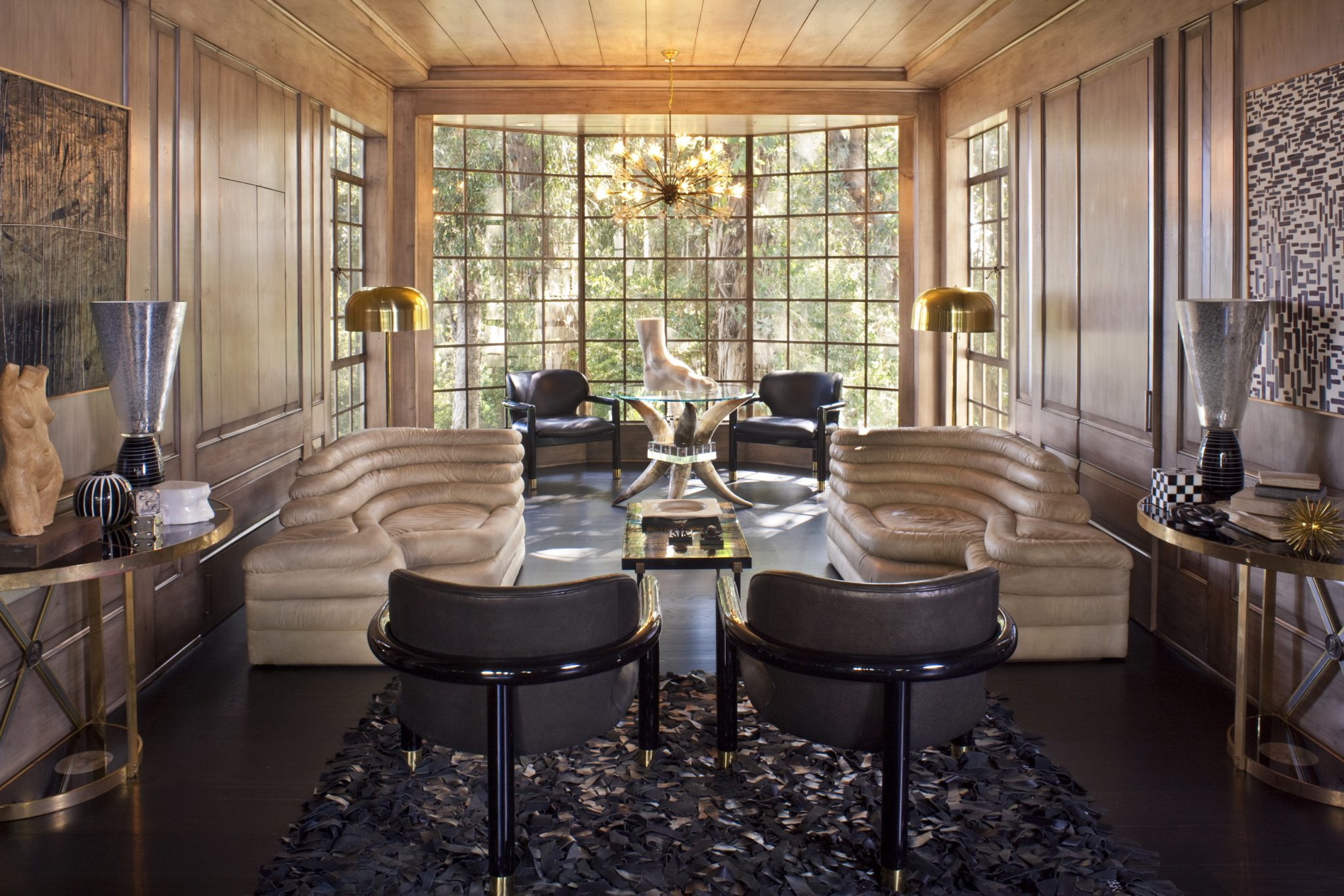 Den at Hillcrest Residence in Beverly Hills, CA. by Kelly Wearstler