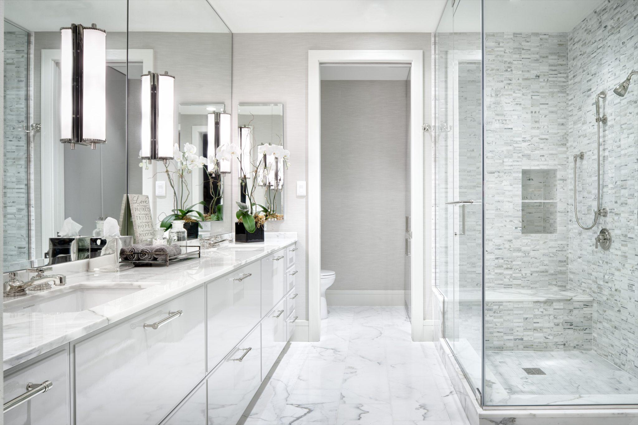 White Modern Master Bathroom - The Austonian, Austin, TX. By Greer Interior Design