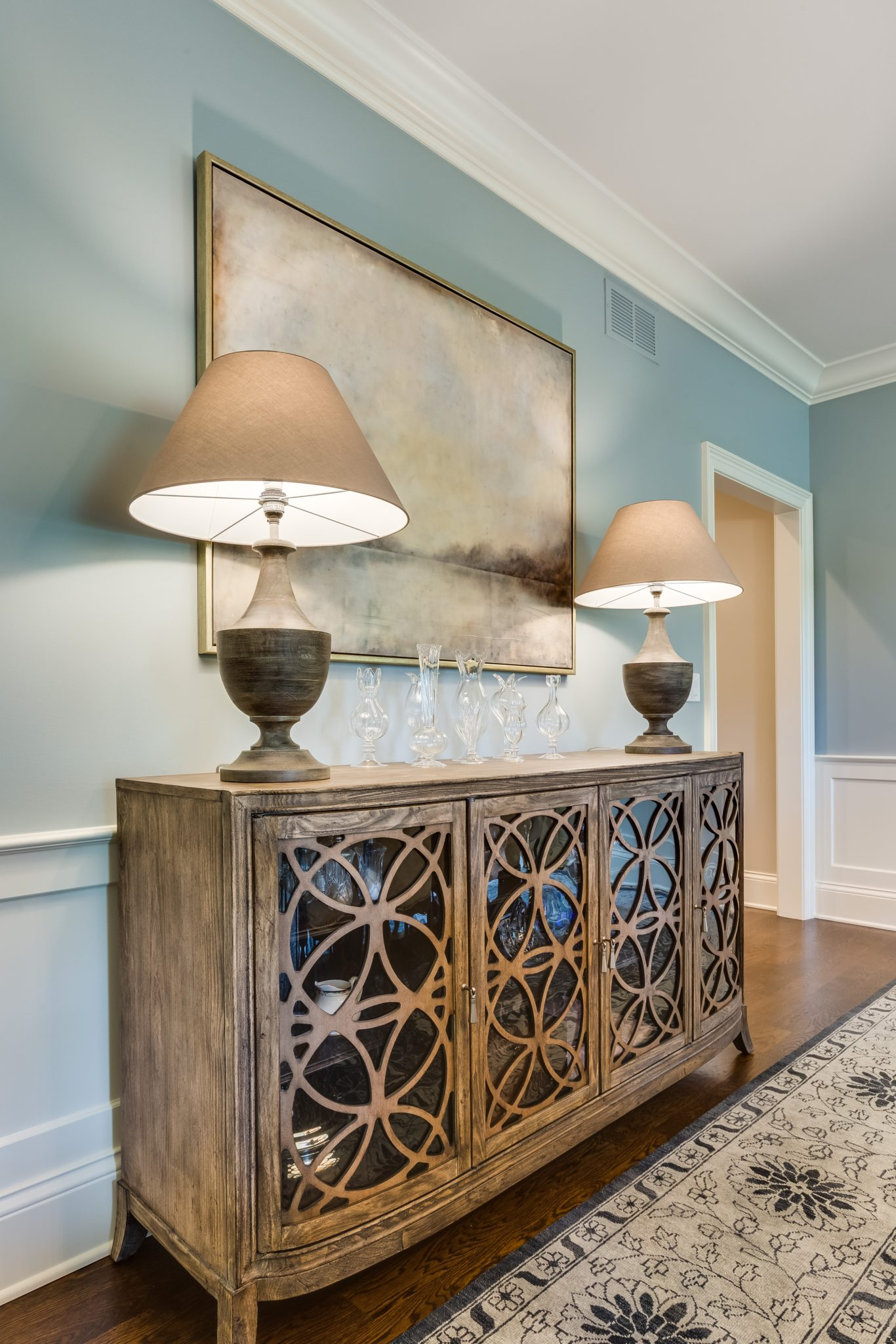 Inverness Estate -dining room with natural wood dining hutch by Rae Duncan Interior Design