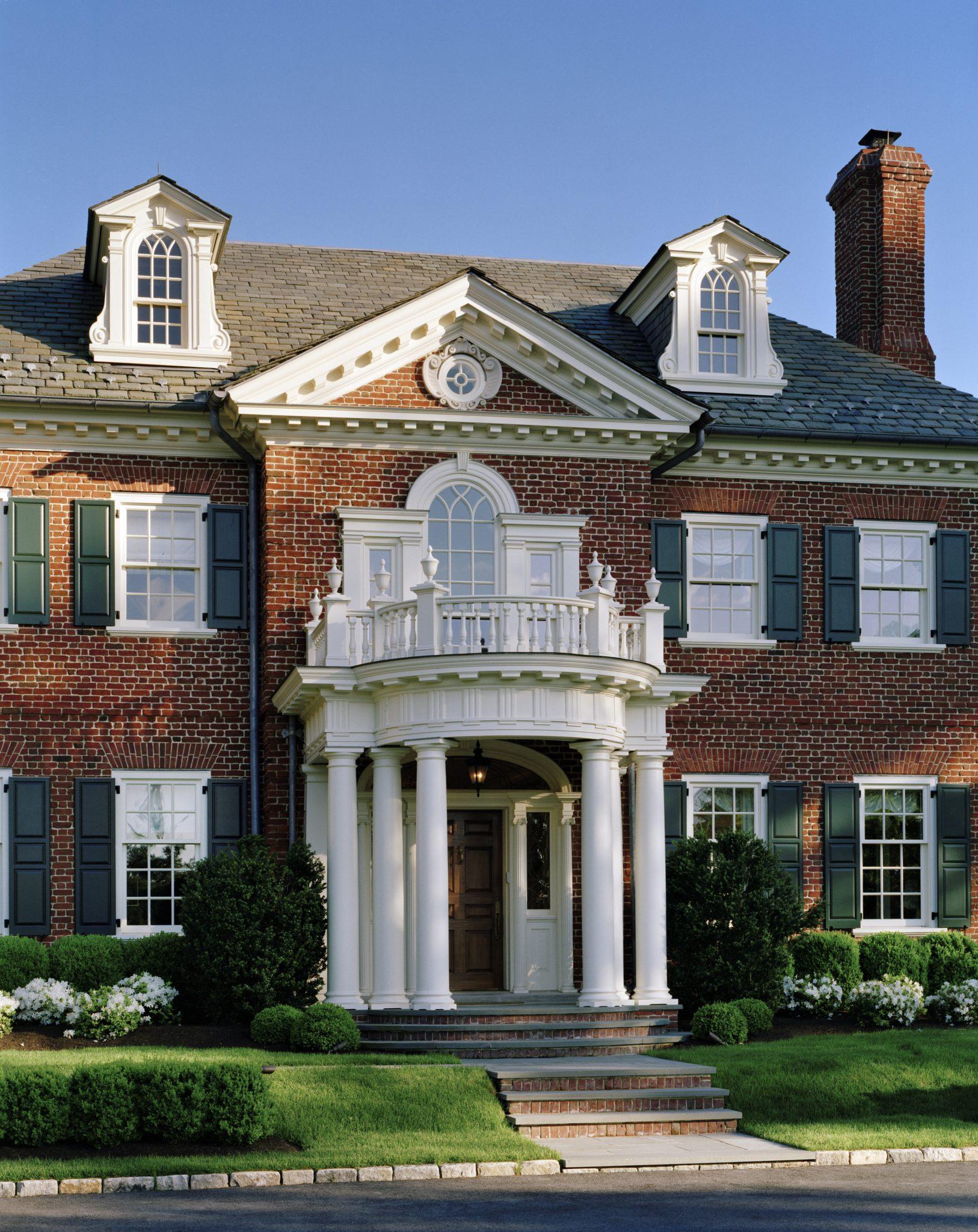 American Brick Georgian Entry Portico by Charles Hilton Architects