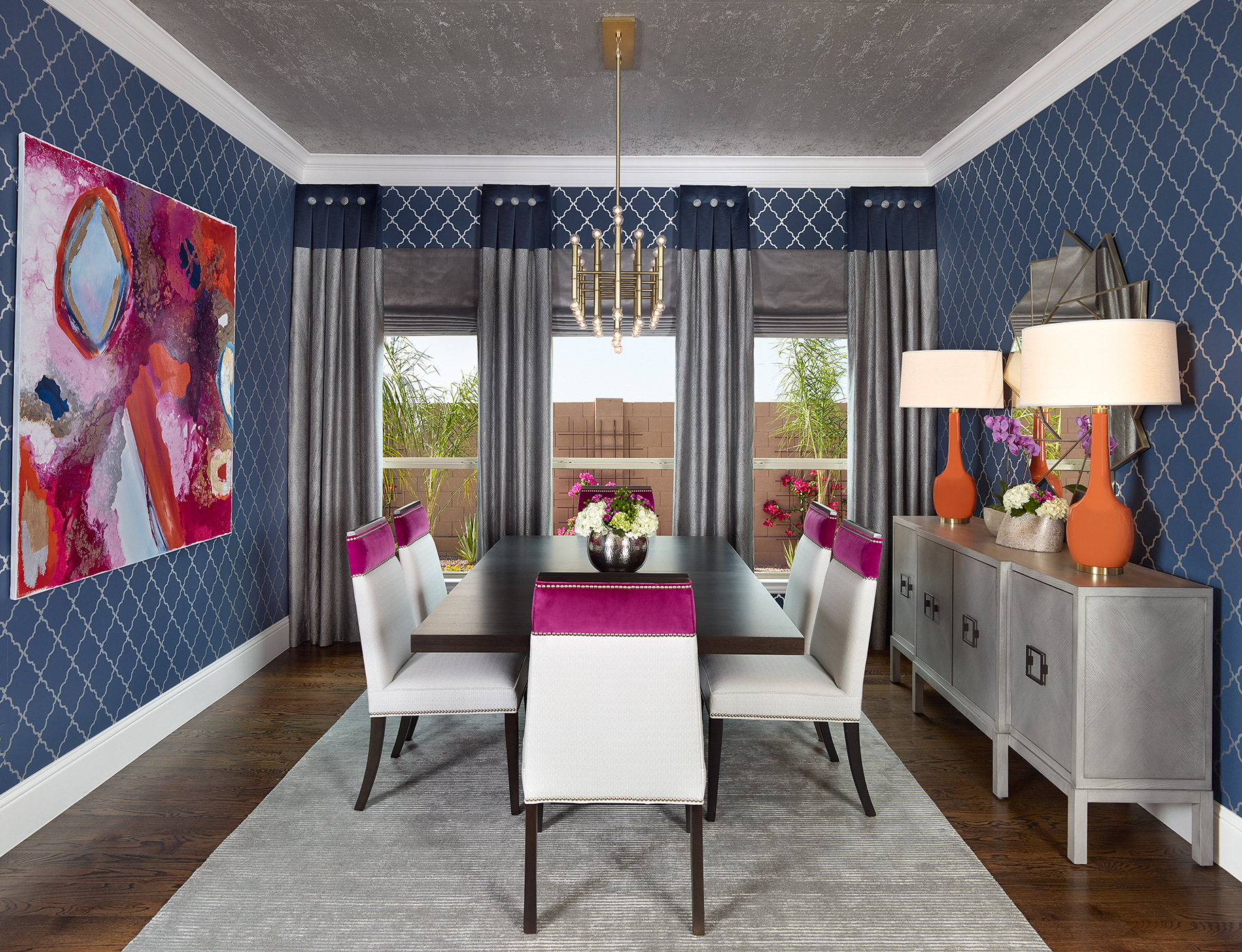 Glamorous dining room with wallpapered walls and ceilings by Barbara Gilbert Interiors