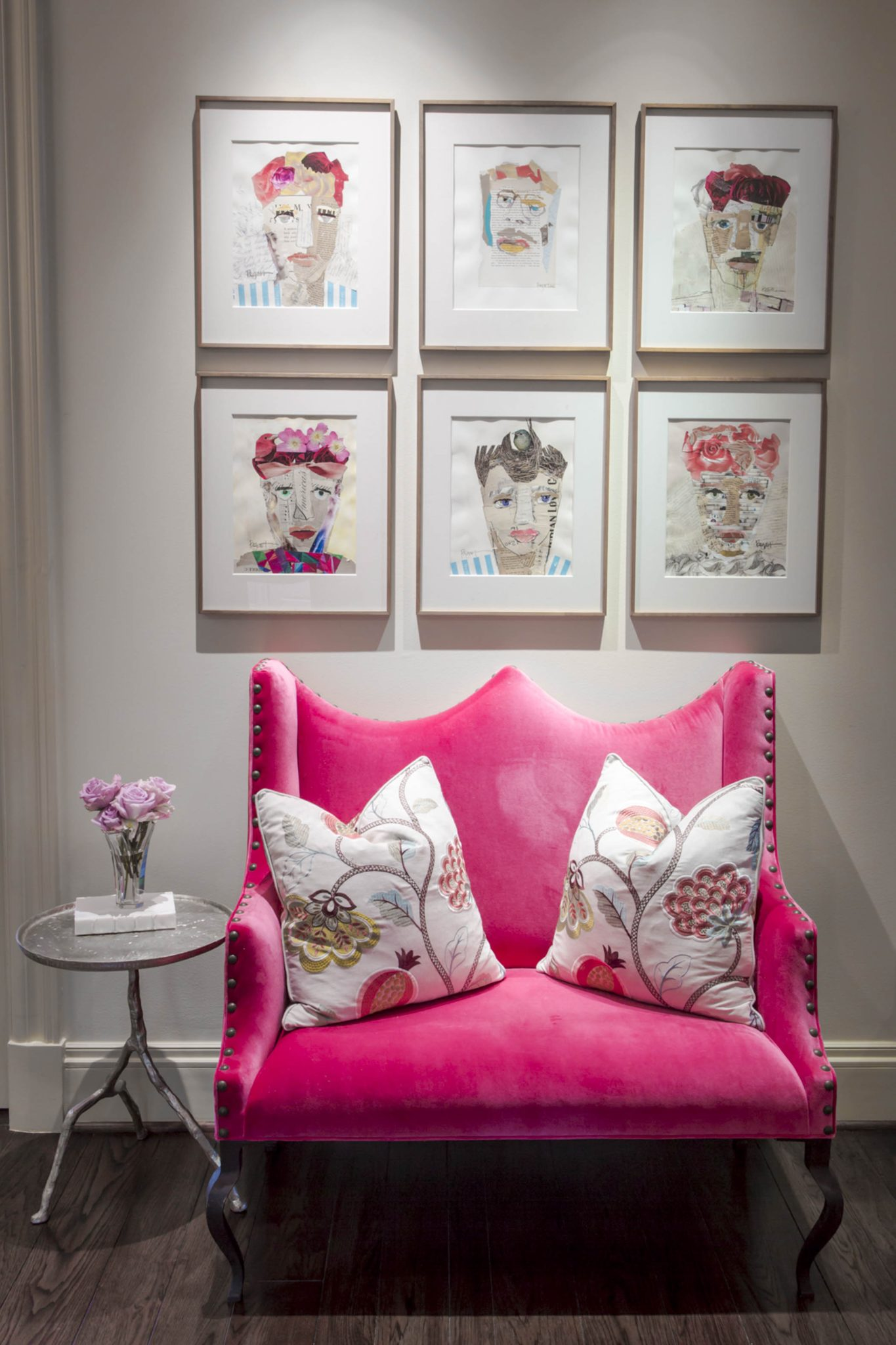 Modern girls sitting area with portrait collage & velvet settee in bold colors by Nicole Zarr and Associates, LLC