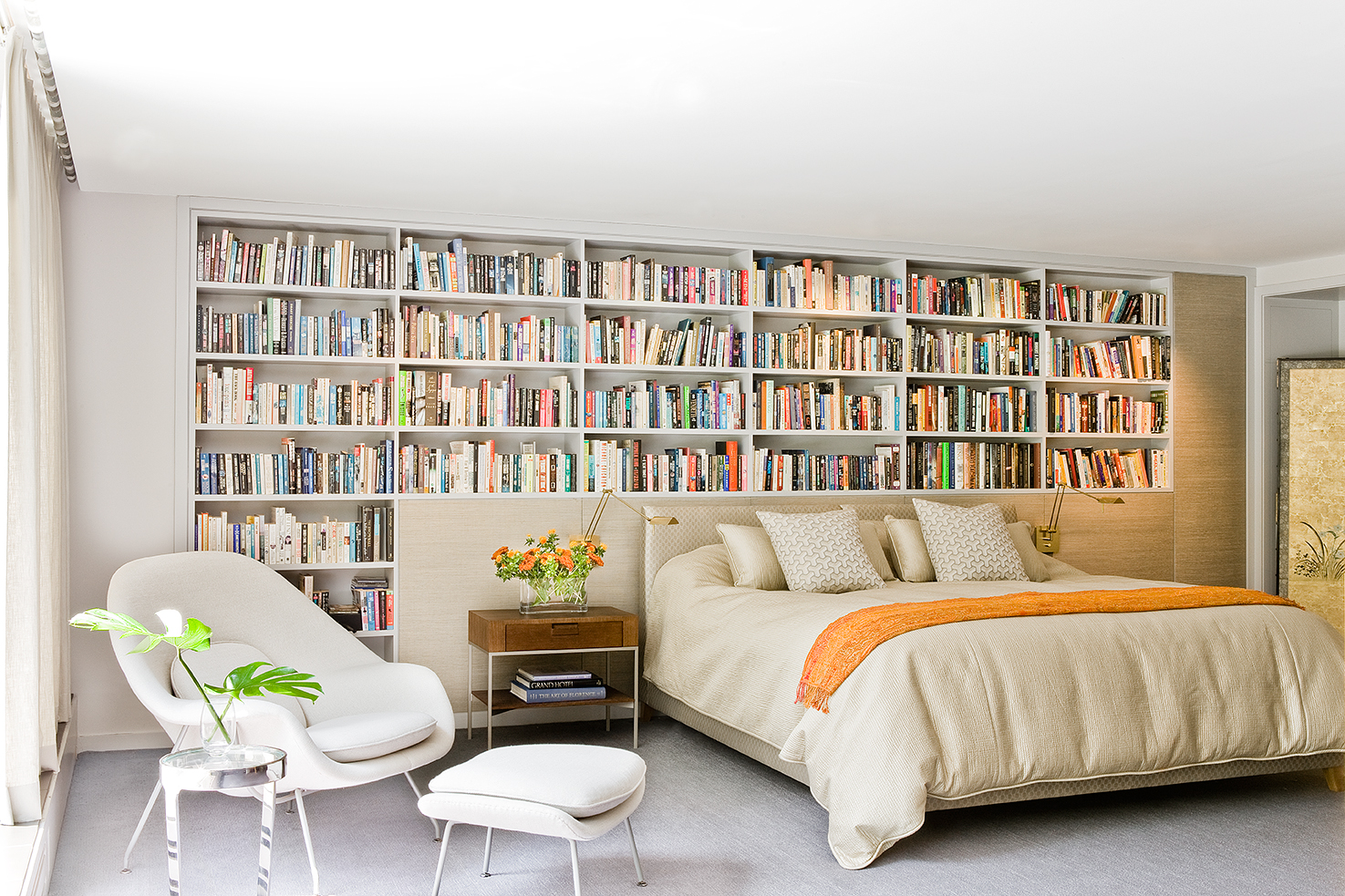 Harvard Square Family Home, Master bedroom with built-in bookshelf wall by Platemark Design