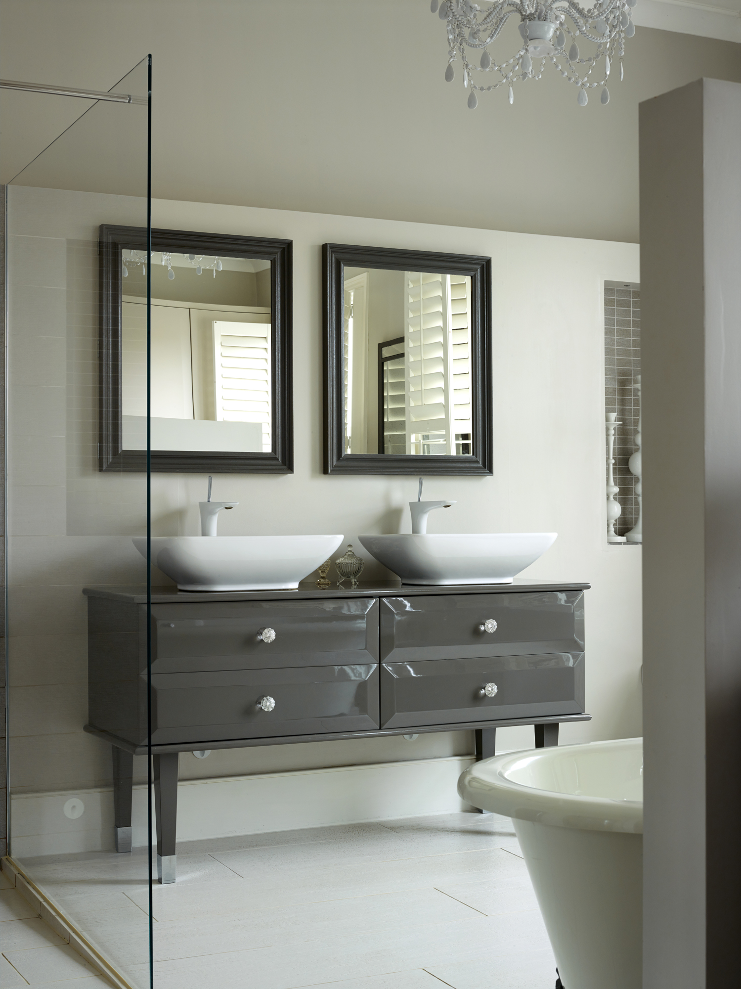 Bathroom featuring a double vanity unit - Crouch End, London, by Caz Myers