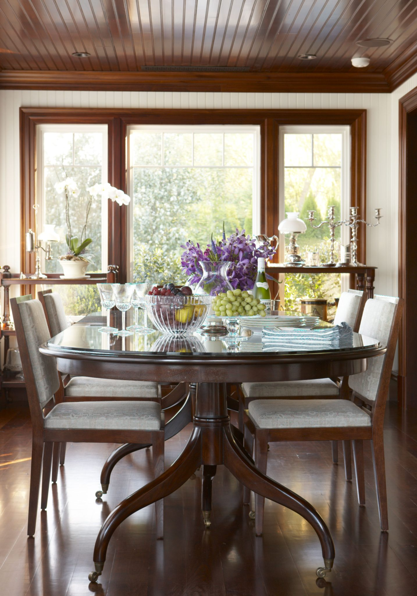 Formal Dining Room featuring Mahogany Beadboard Ceiling & Trim with Waterview by Patrick Ahearn Architect