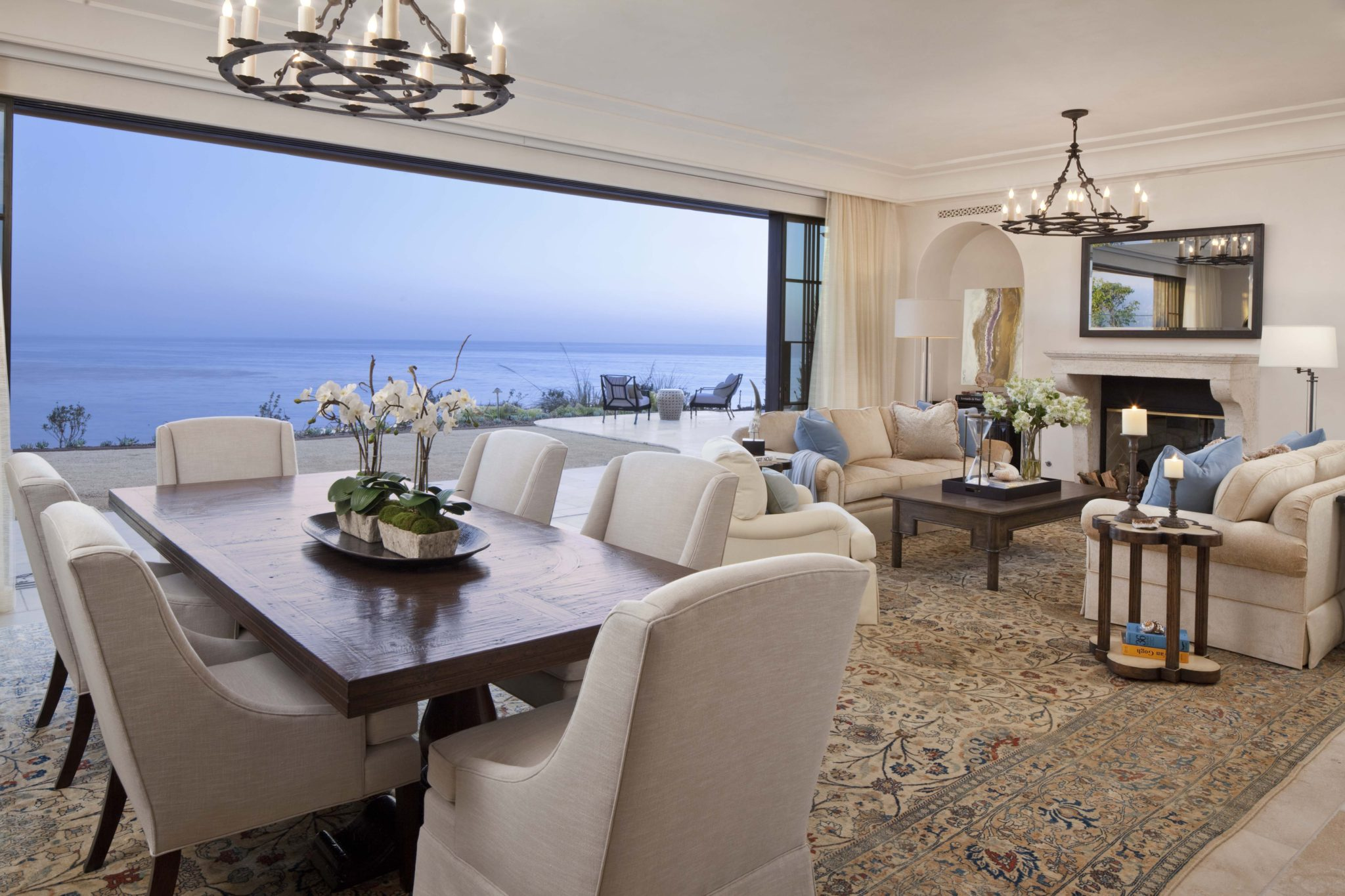 Living room in a Dana Point, California, residence by SFA Design