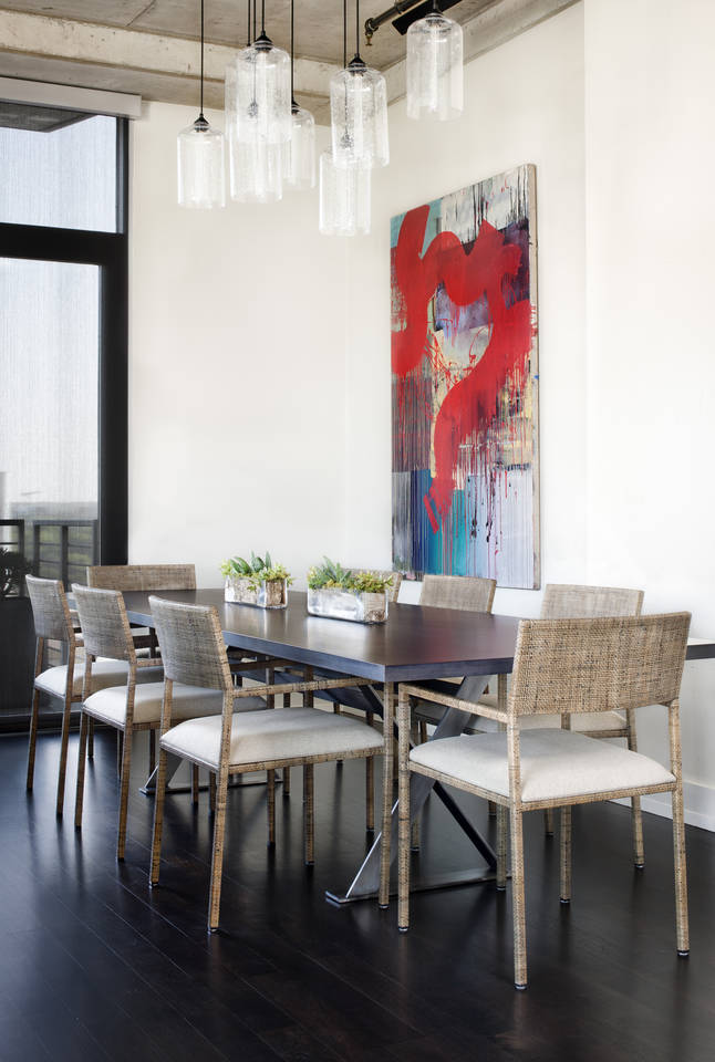 Bold dining room in Austin City Lofts, Austin, Texas, by Greer Interior Design