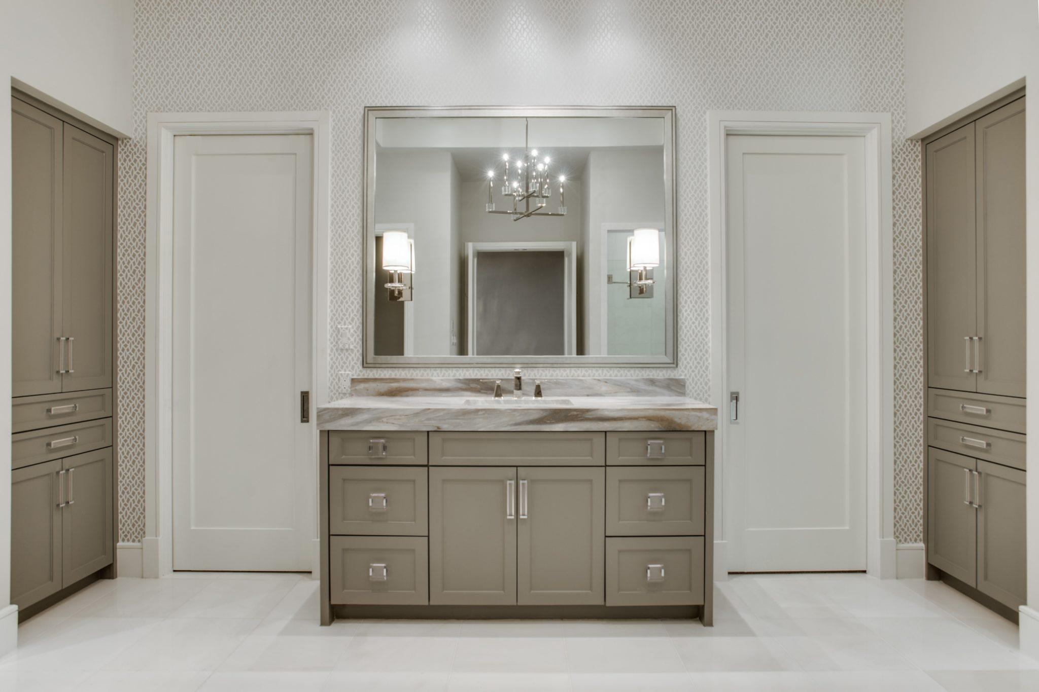 Preston Hollow Soft Contemporary, Master Bathroom, Vanity Wall by Allison Seidler Interiors