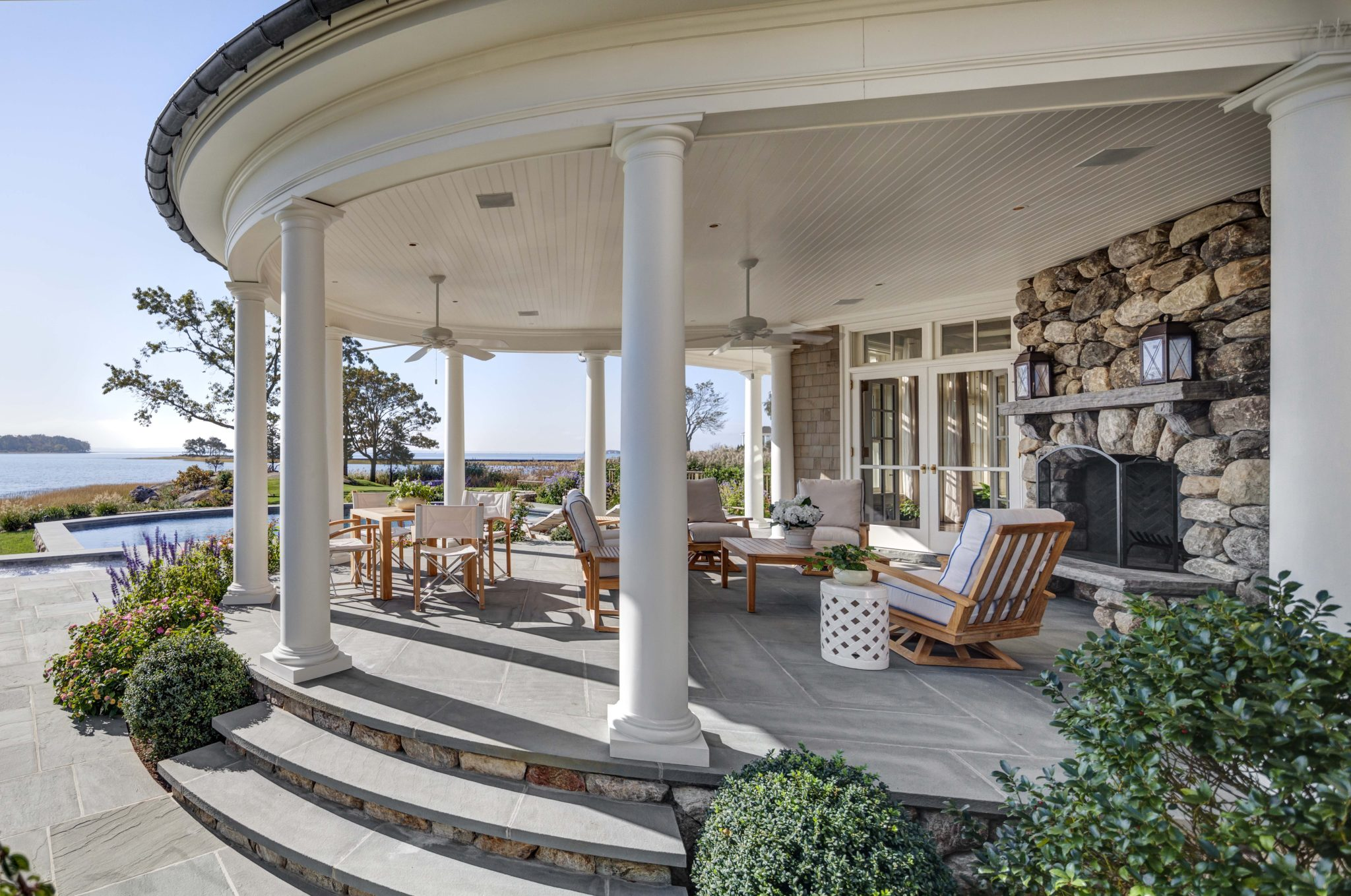 New England Shingle Style Covered Porch by Charles Hilton Architects