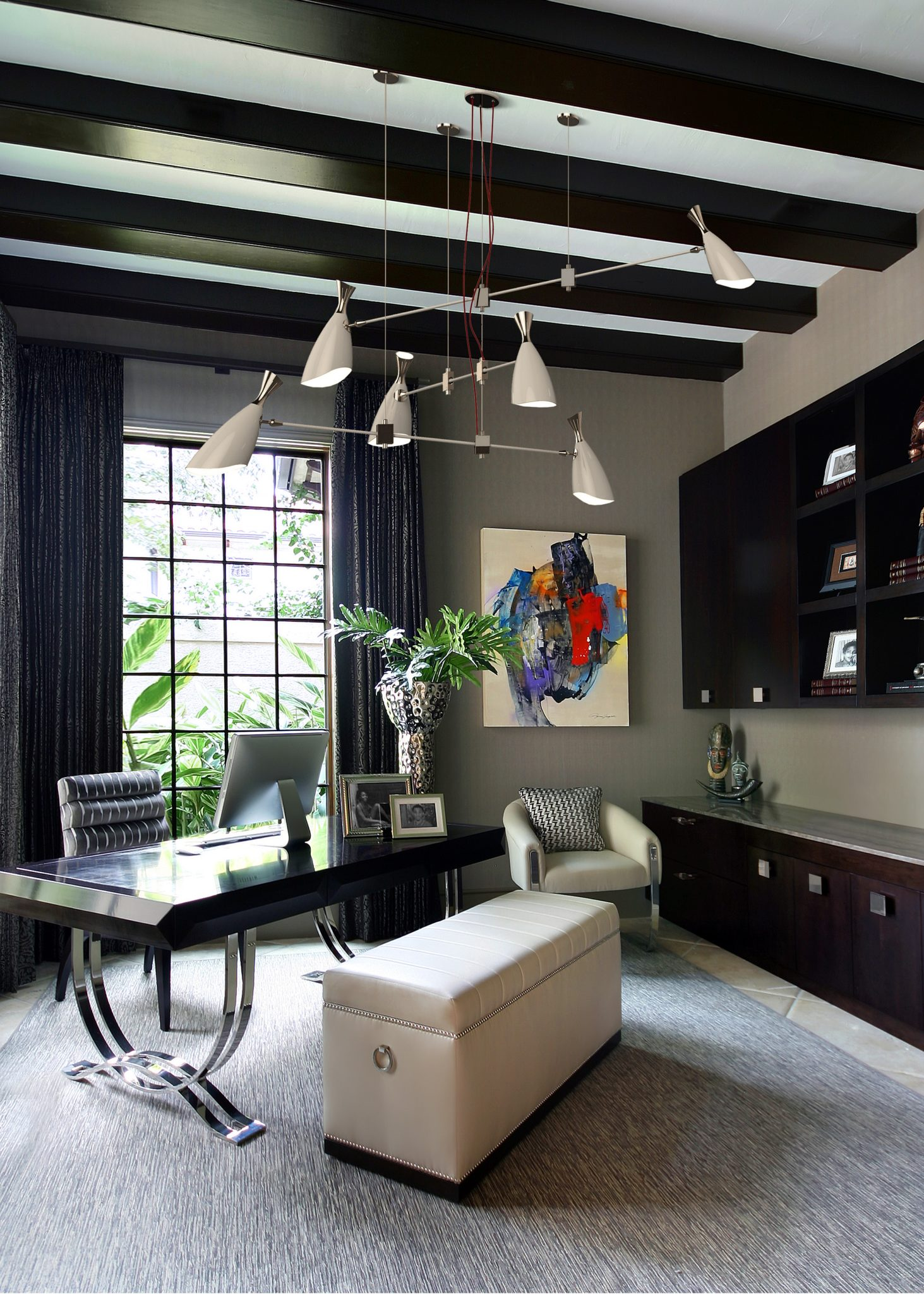 High Style Home Office with Ceiling Accents and Custom Cabinetry by Benjamin Johnston Design