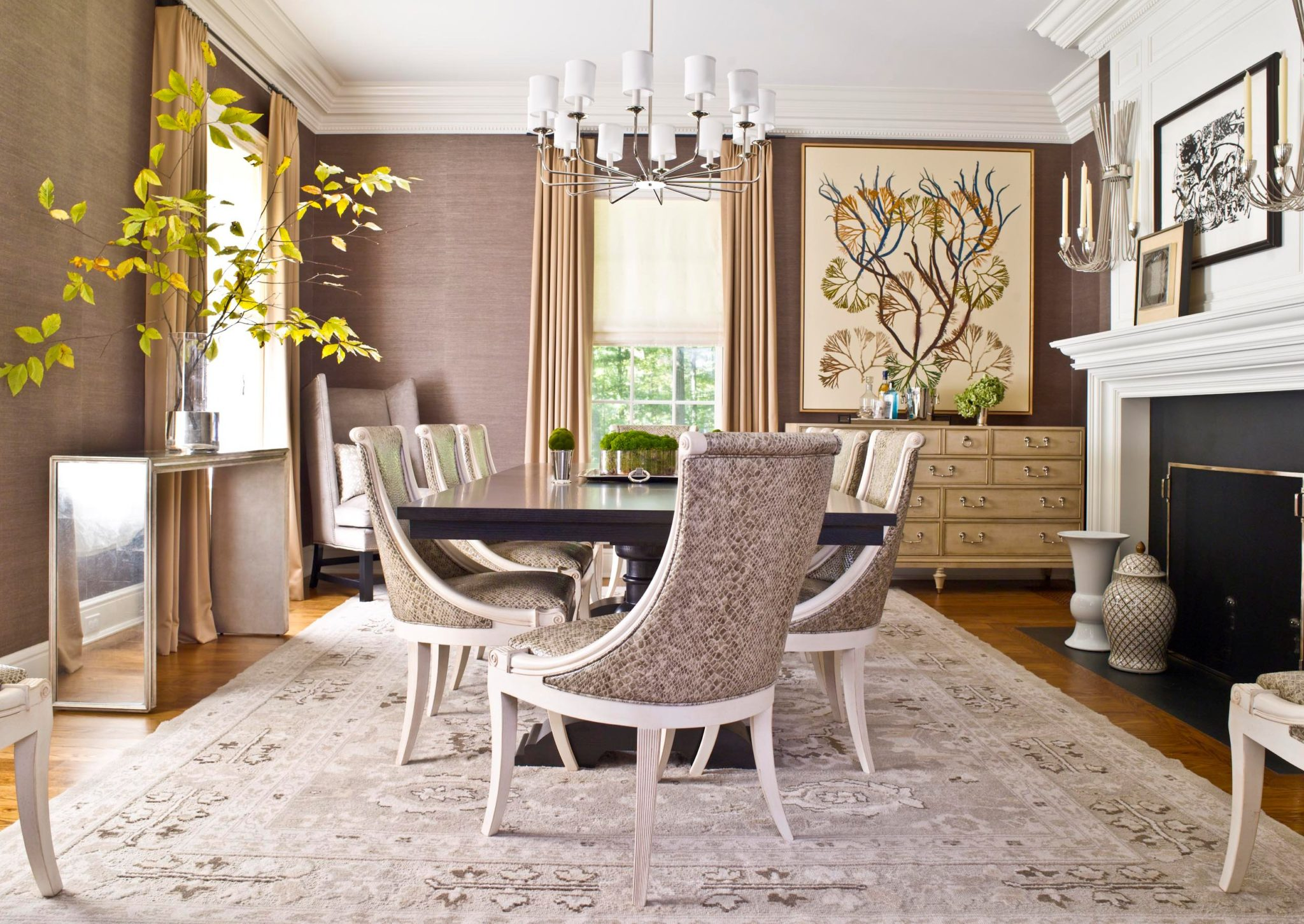 Brown and cream dining room with faux snakeskin chairs by S.B. Long Interiors