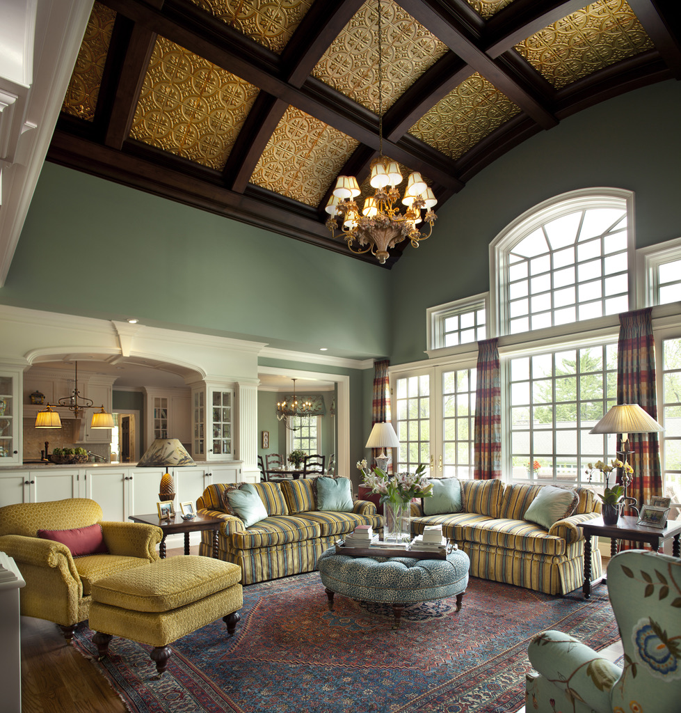 Coffered Ceiling w/ Metal Inserts in Gathering Room by Diane Burgoyne Interiors by Diane Burgoyne Interiors