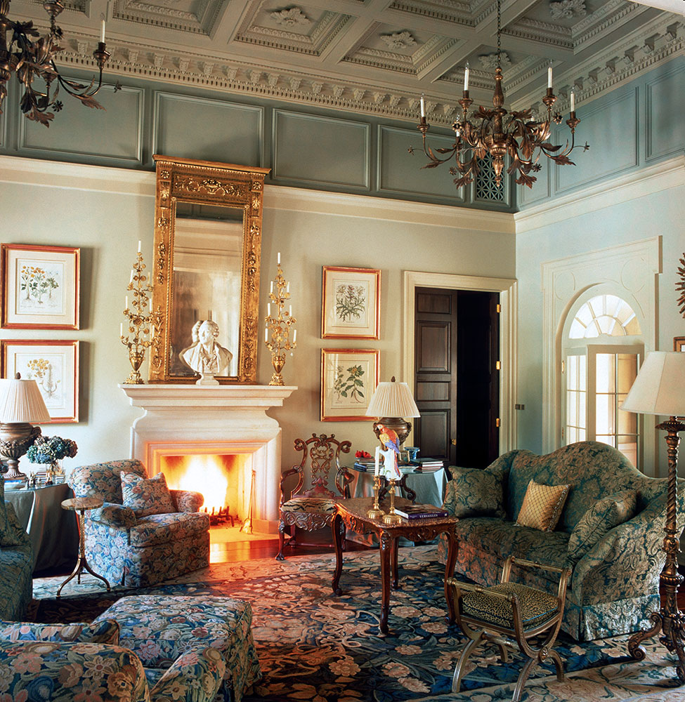 Mediteranian Formal Livingroom with coffered cast plaster ceiling. by Ken Tate Architect