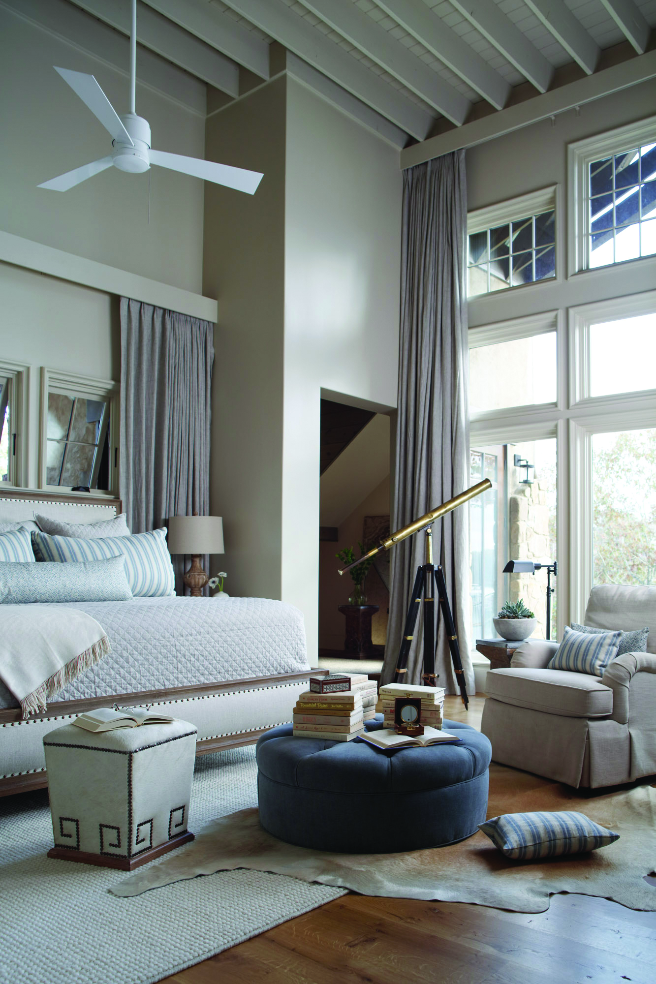 Lakefront Luxury Master Bedroom with High Ceiling by Christopher Architecture and Interiors