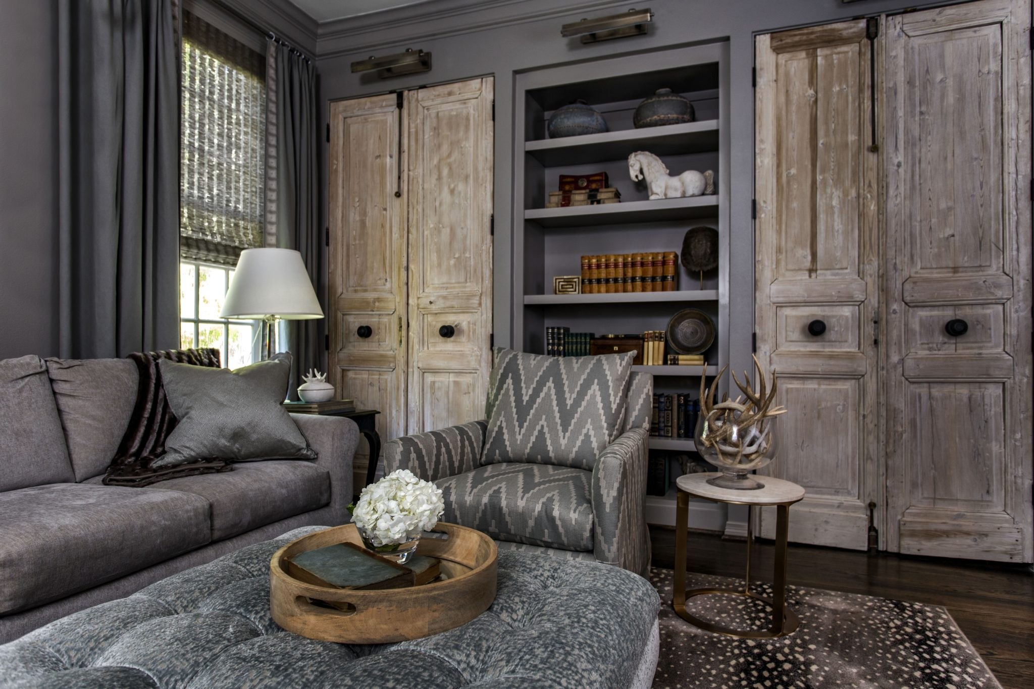 Briargrove Houston Living Room Featuring Reclaimed Wood Doors by Cindy Witmer Designs