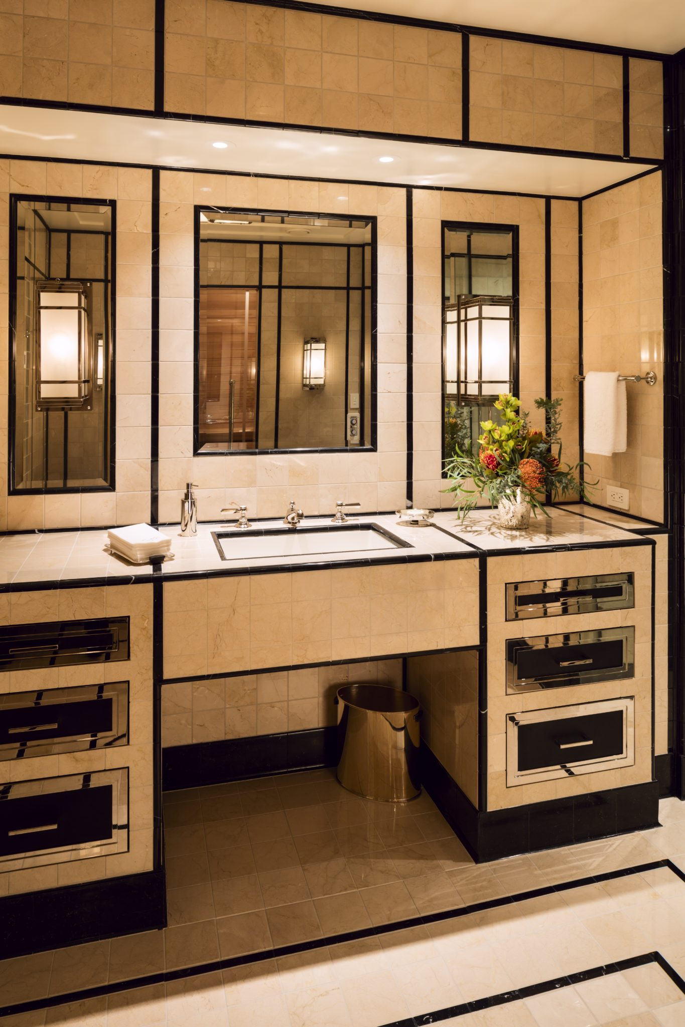 All cabinetry is magnificently inlaid. By Wade Weissmann Architecture Inc.