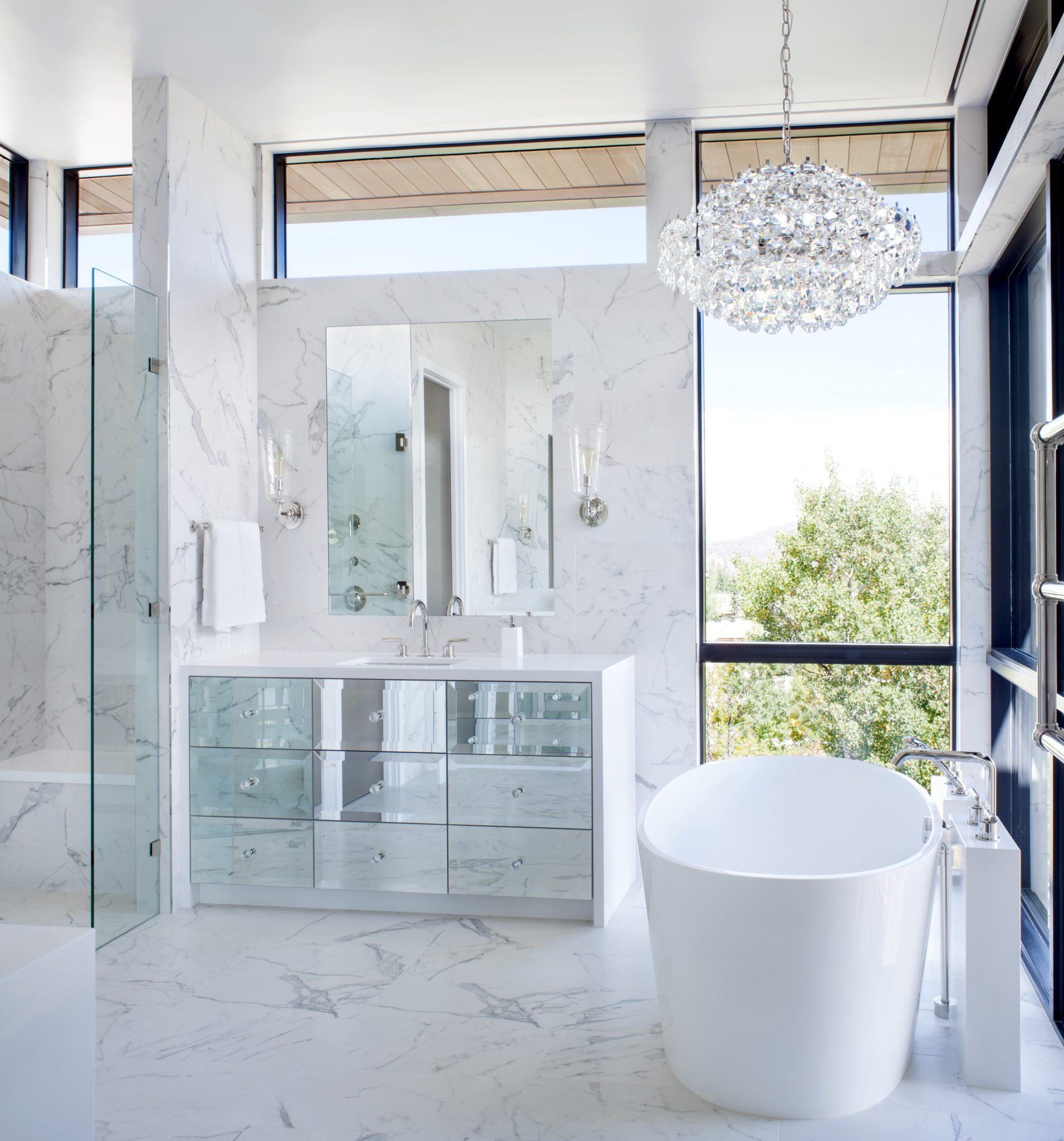 Vail, Colorado, mountain glam master bath with custom vanity and porcelain tile by The Refined Group