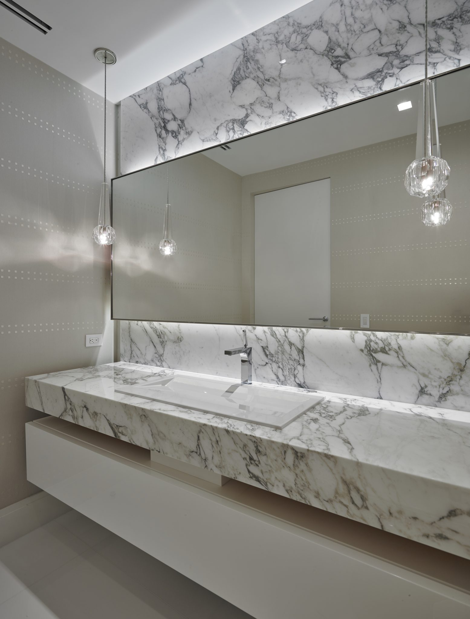 Metropolitan Residence White Powder Room by B+G Design