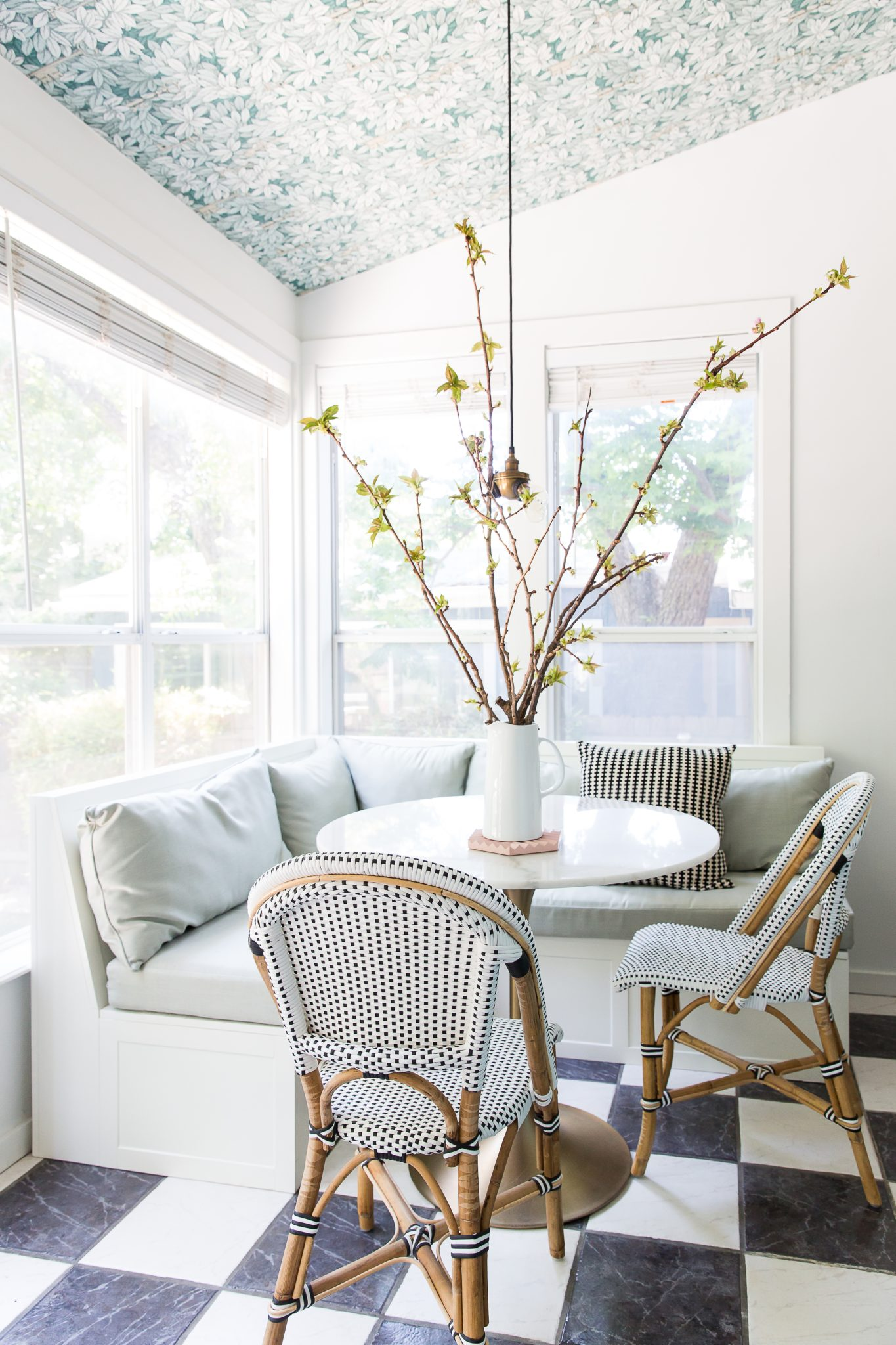 Breakfast Nook with Wallpapered Ceiling by Maureen Stevens Design