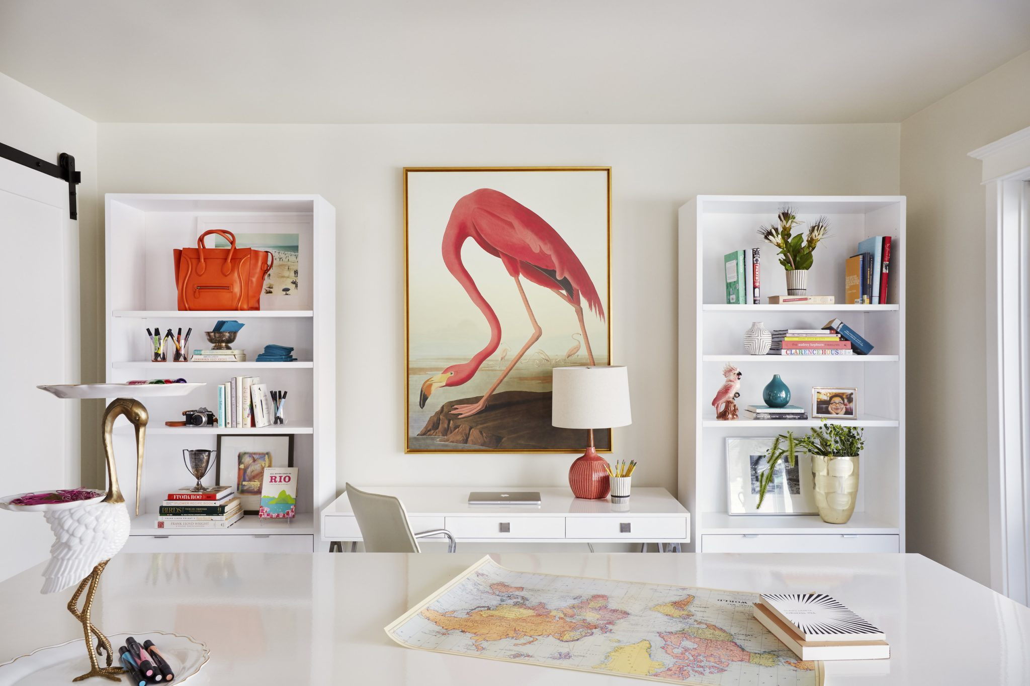 Light & bright home office with pops of color in a Land Park, Sacramento home. by PepperJack Interiors