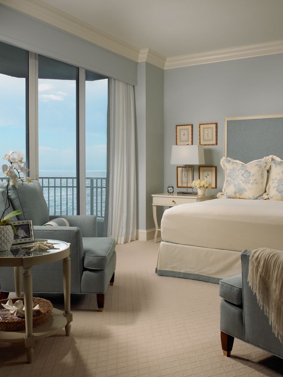 Soothing pale blue in anoceanfront master suite by Jill Shevlin Design