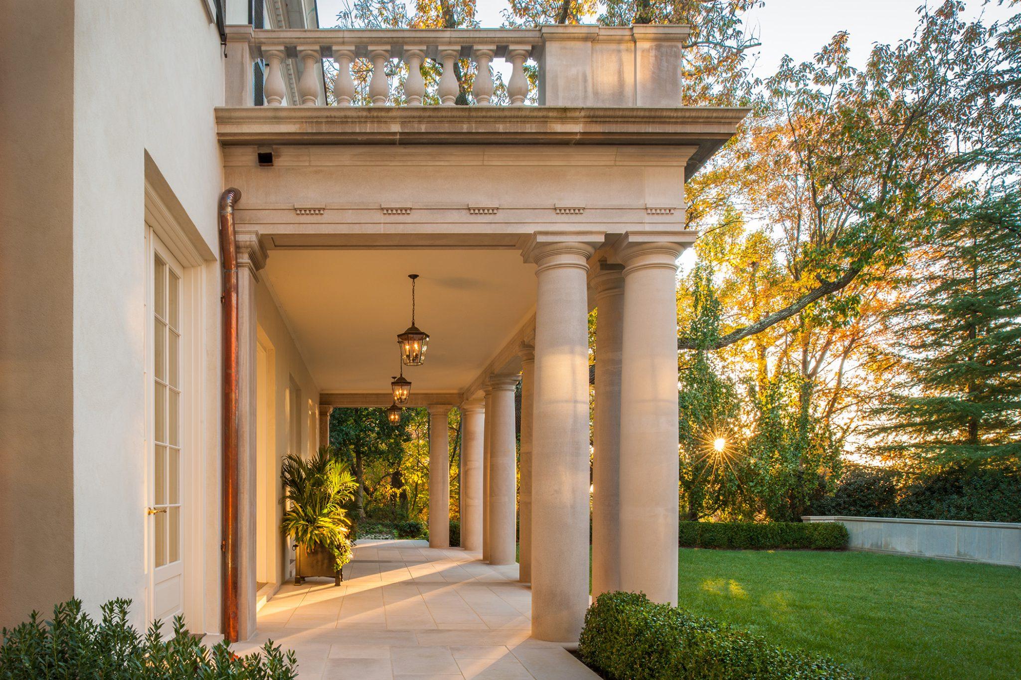 Regency style estate in Washington DC with limestone portico by Jones & Boer Architects, Inc.