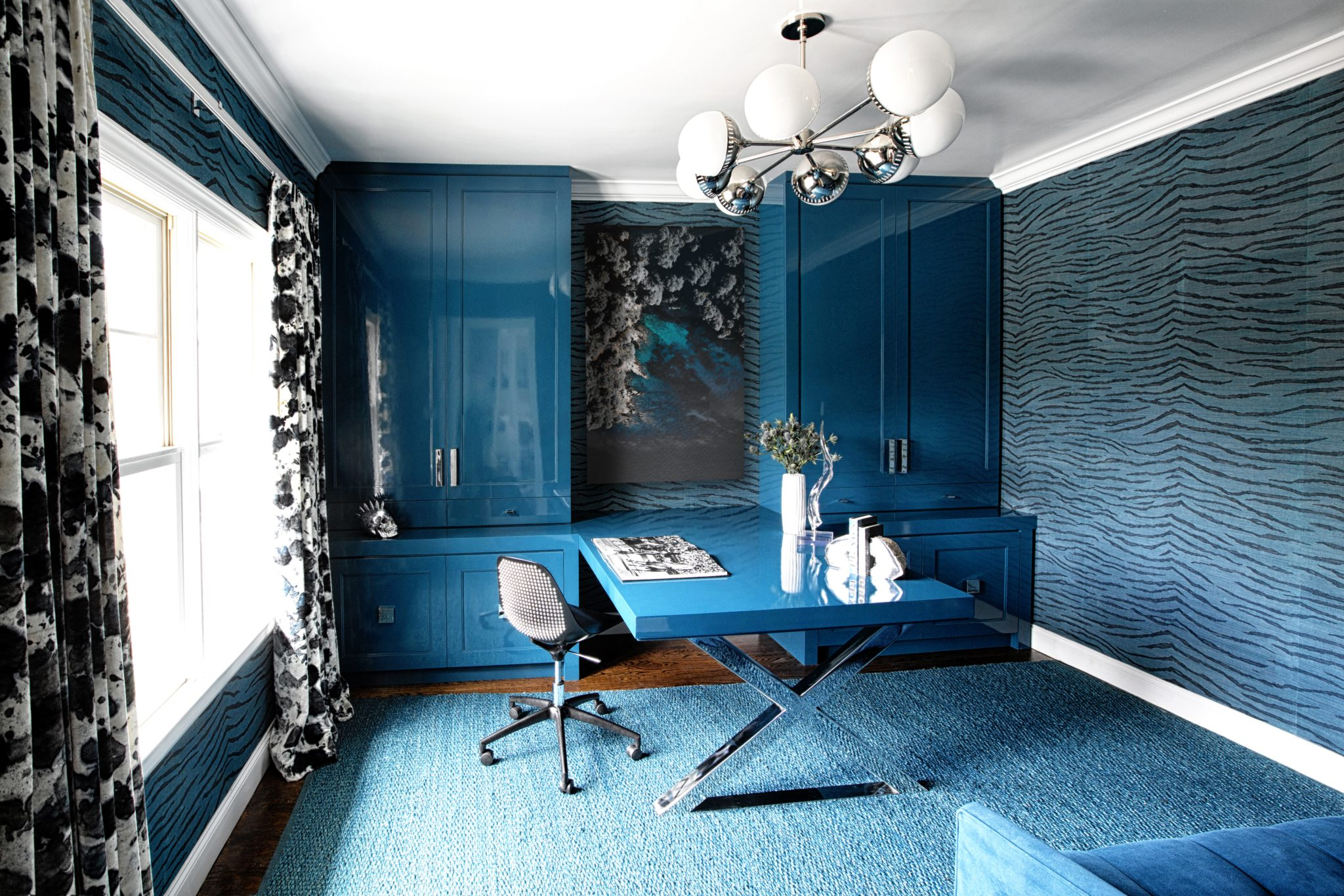 Home office featuring Sherwin Williams color of the year: Oceanside. By Laura Michaels Design