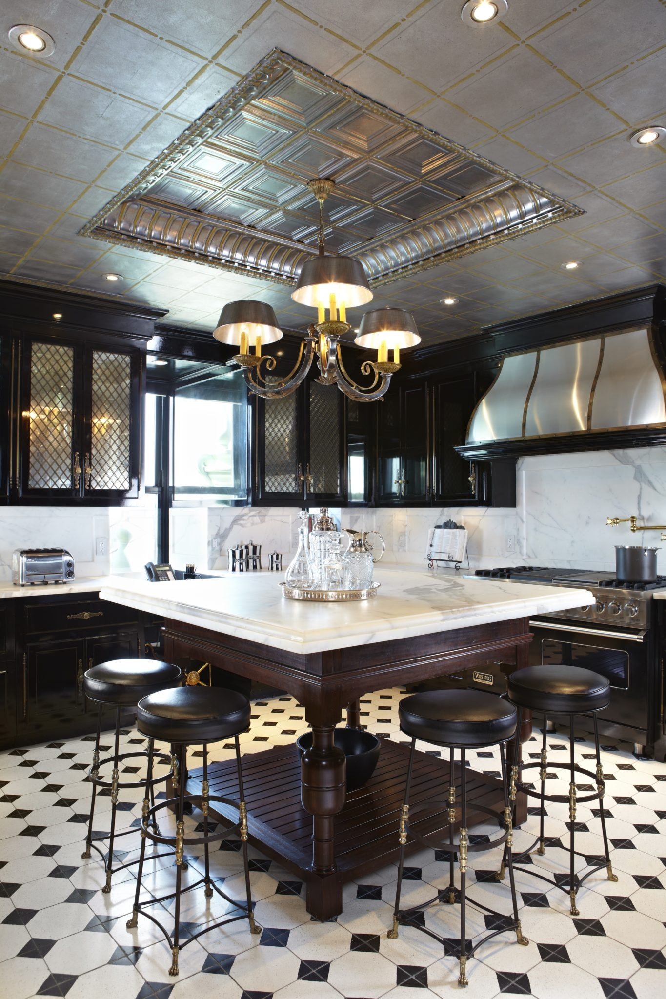 The Plaza Penthouse Kitchen, Aluminum Leaf Ceiling and Faux Marble Outlet Covers by Heidi Holzer Design & Decorative Work