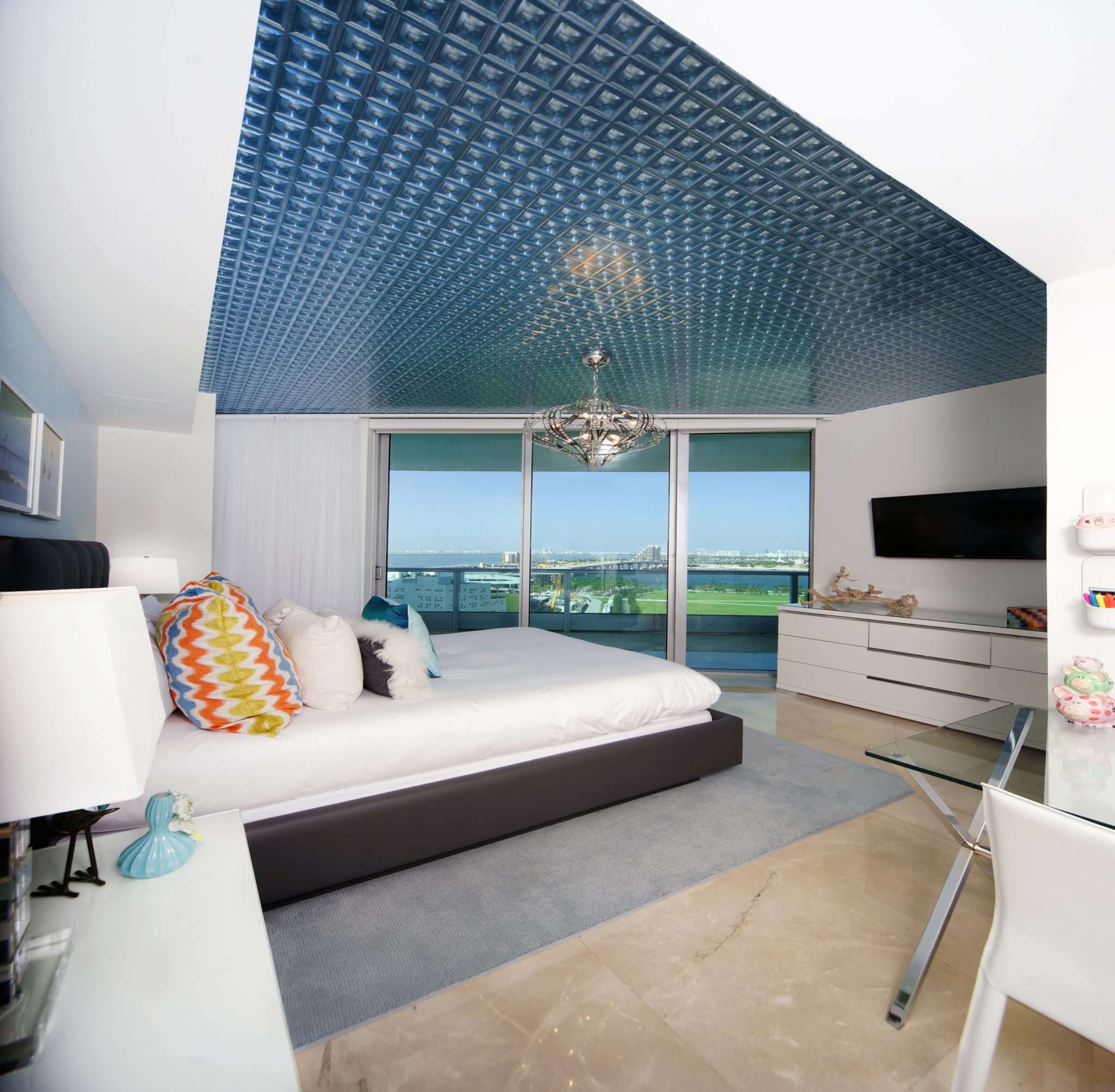 900 Biscayne Master Bedroom with Statement Ceiling by DiMare Design