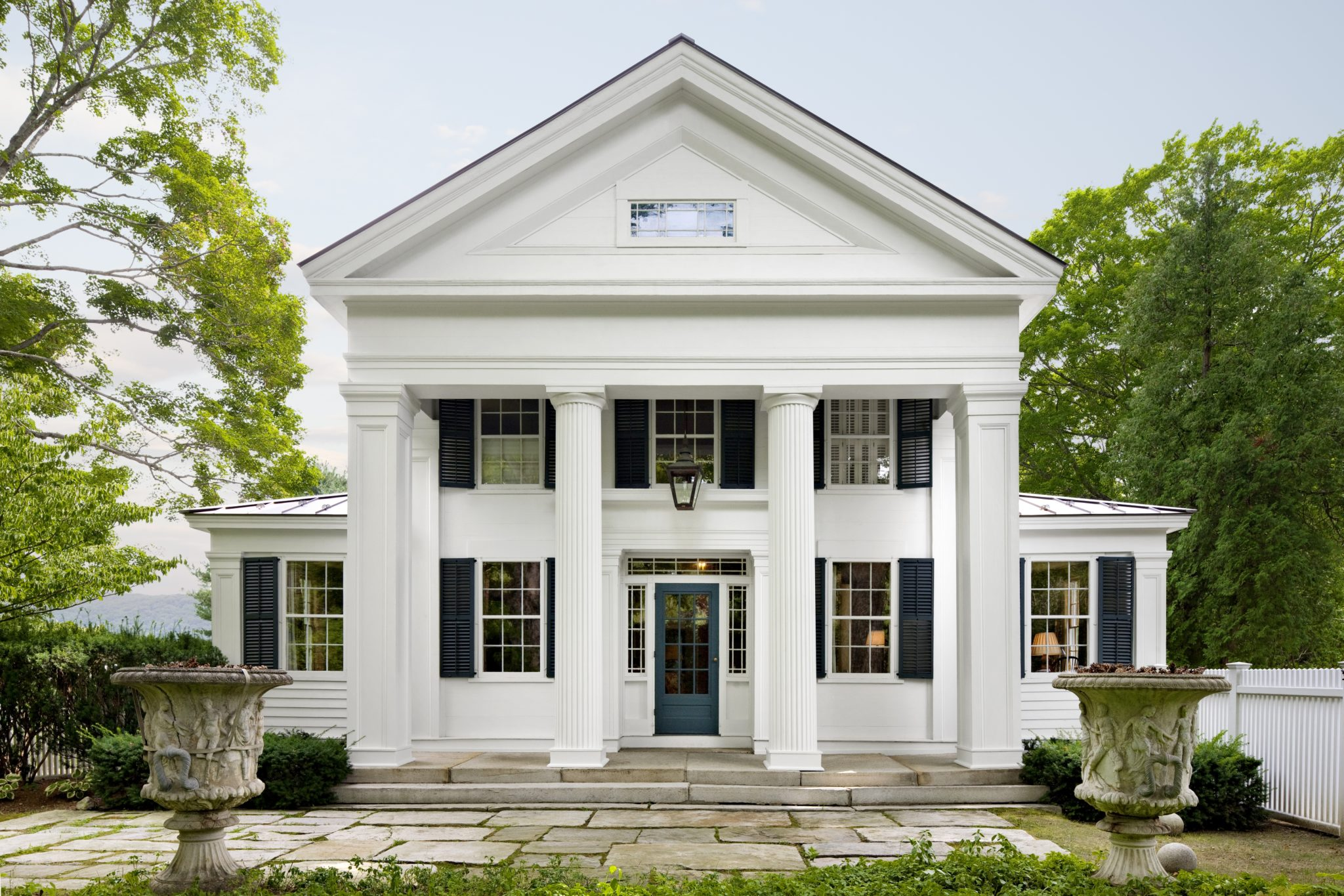 Entry Portico of Restored Greek Revival House by Haver & Skolnick Architects